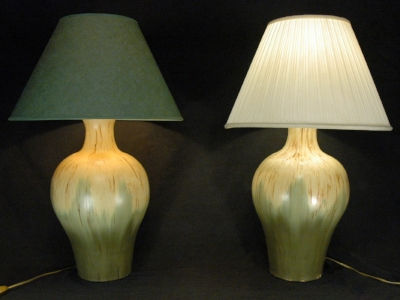 Table lamp bases with sample lamp shades Height 43 cm, diameter 26 cm Made to order. P.O.A.