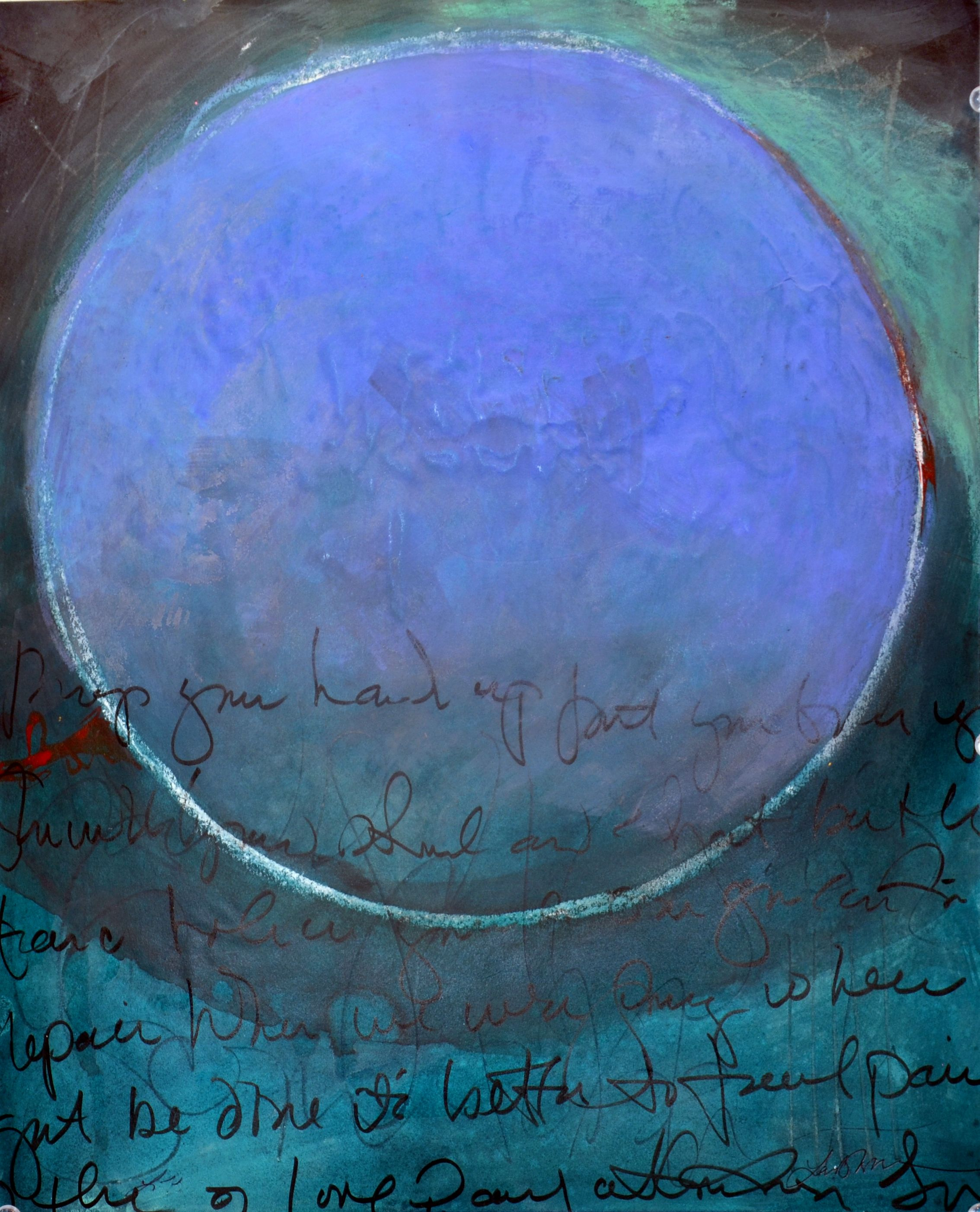 Blue Sphere •    mixed media on paper    •    14 x 19