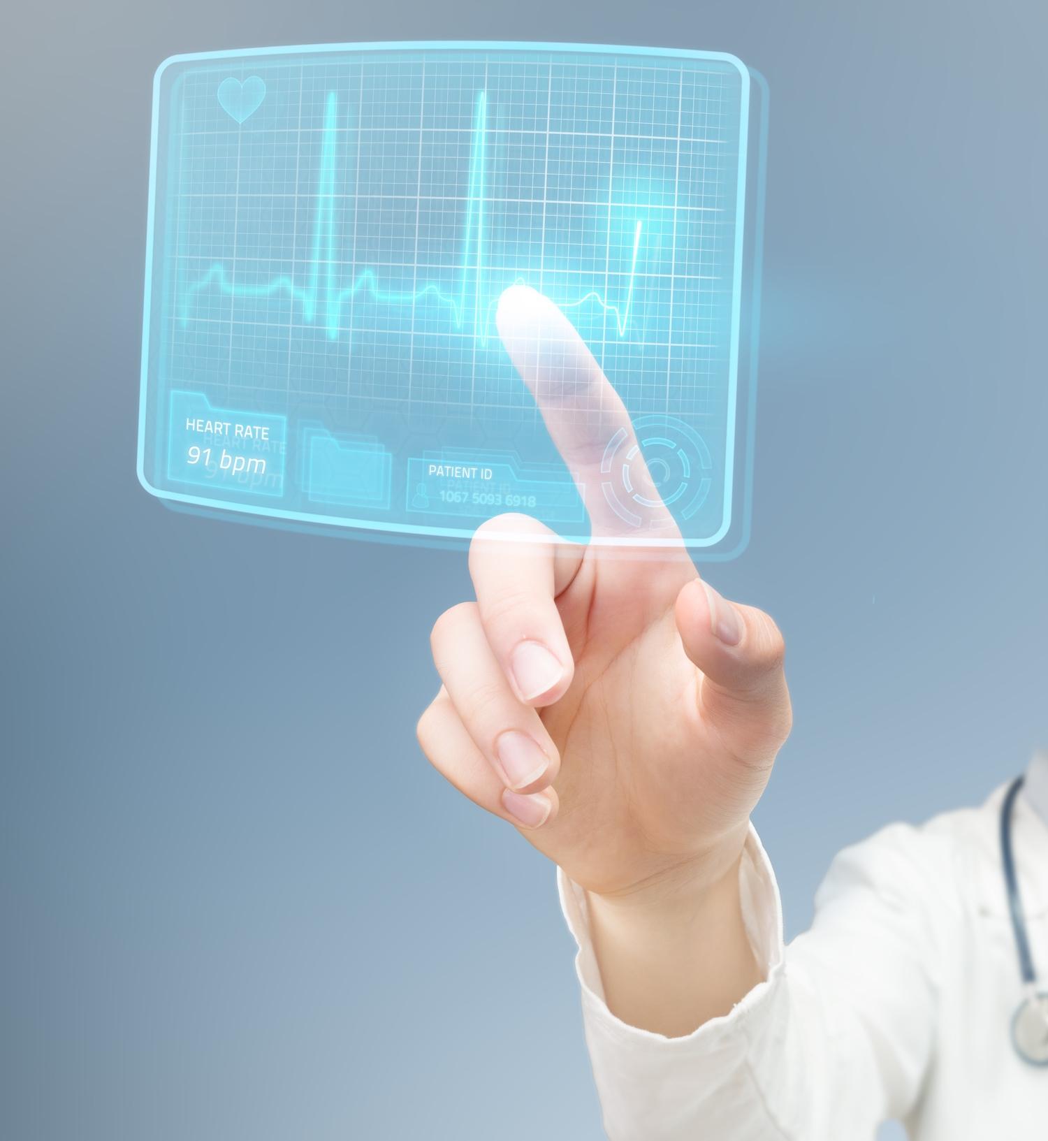 Doctor checking futuristic ECG