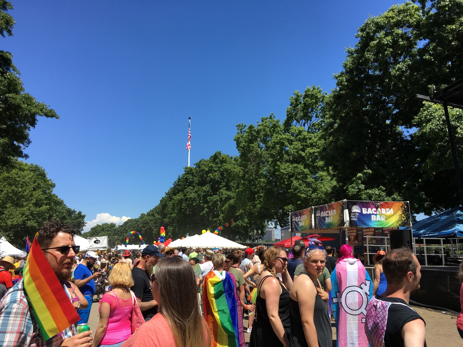 The American flag flying above Portland Pride