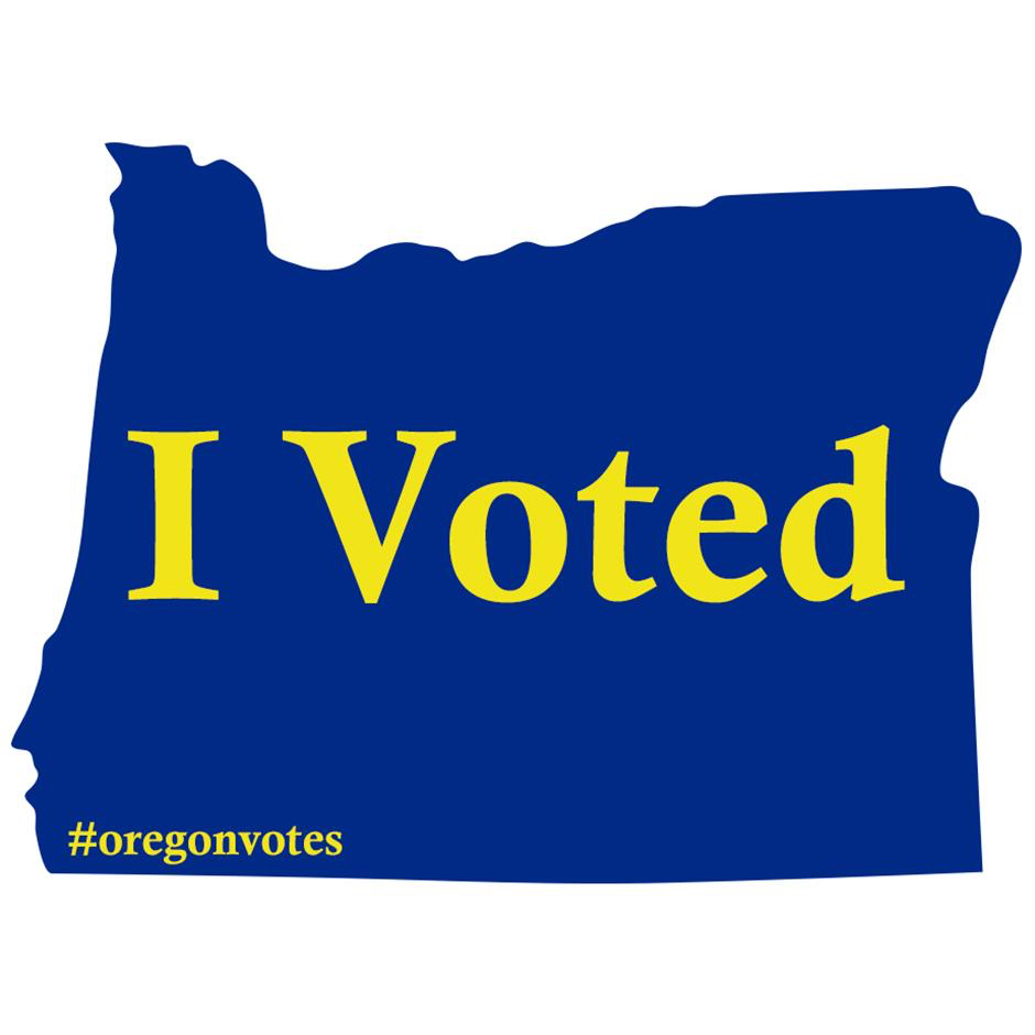 """Oregon conducts elections entirely by mail. It consistently produces some of the highest voter participation rates in the country. And you can't hack paper. We got our digital """"I Voted"""" stickers, which look like this."""