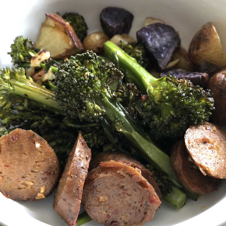 roasted broccoli and vegan sausage.jpg