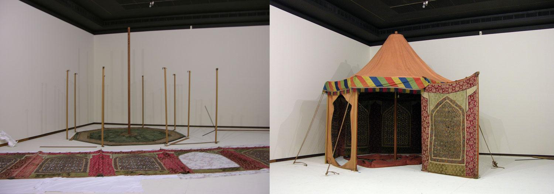 Courtesy of The Saint Louis Art Museum  Persian; Pleasure Tent ; 19th century; silk, cotton, metallic yarns; 345.4 x 406.4 x 406.4 cm; Gift of James F. Ballard 132:1929