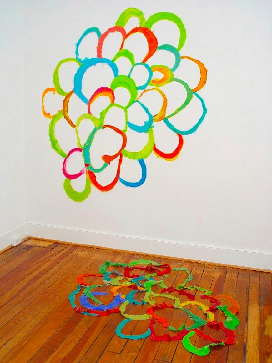 I Still Carry You Around 2004 acrylic on wall dimensions variable (approximately 80 by 70 by 70 inches)