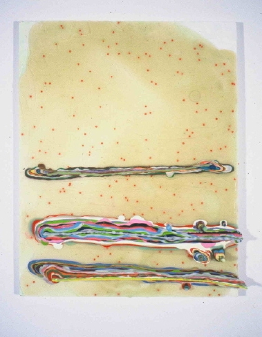 Dubious Attempts 2001 acrylic and beads on mdf 14 by 9 inches
