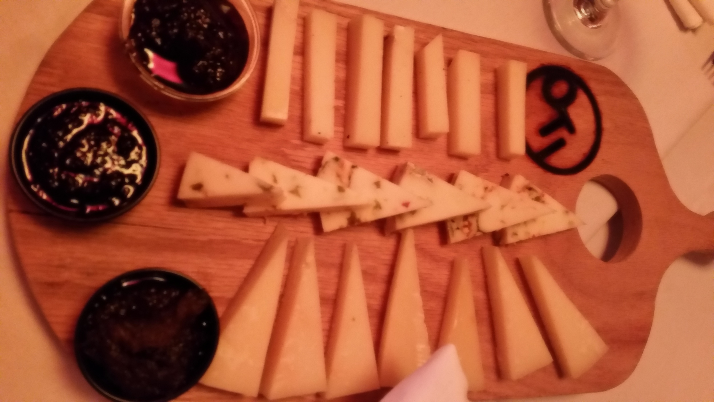 Homemade Marmalades (Top-Bottom: Onion, Hot Pepper, Eggplant) with Imported Cheeses at Ornella Trattoria Italiana.