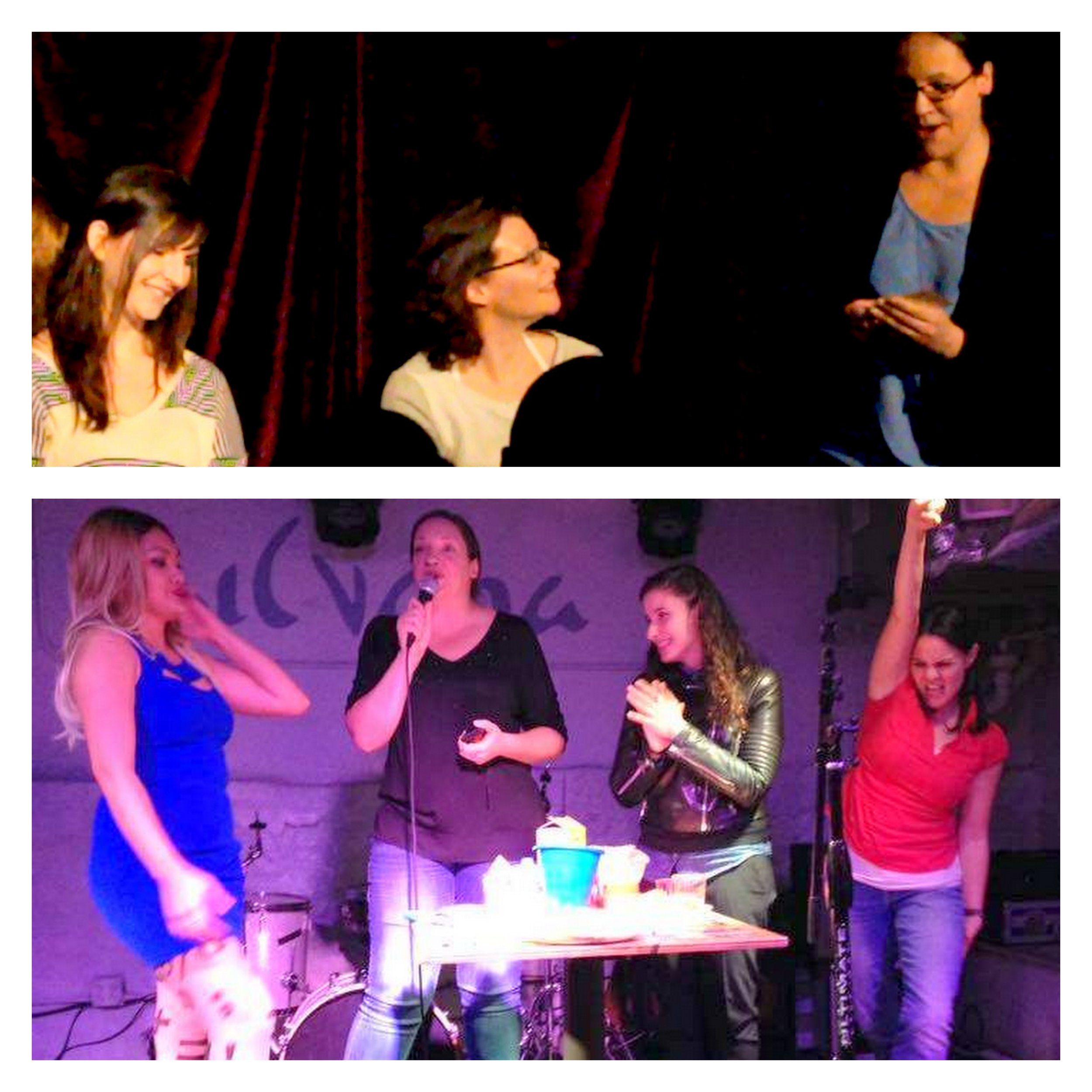 Top: photo from my first show at The West End Lounge, where I actually included interview segments for my guests. Turned out that was much more interesting to me than to my audience.  Bottom: My last mini-reboot of the show was only the cooking portion, but was high energy and a lot of fun. I now have a much better idea of how to make this show work and keep it fun and different for the whole hour!