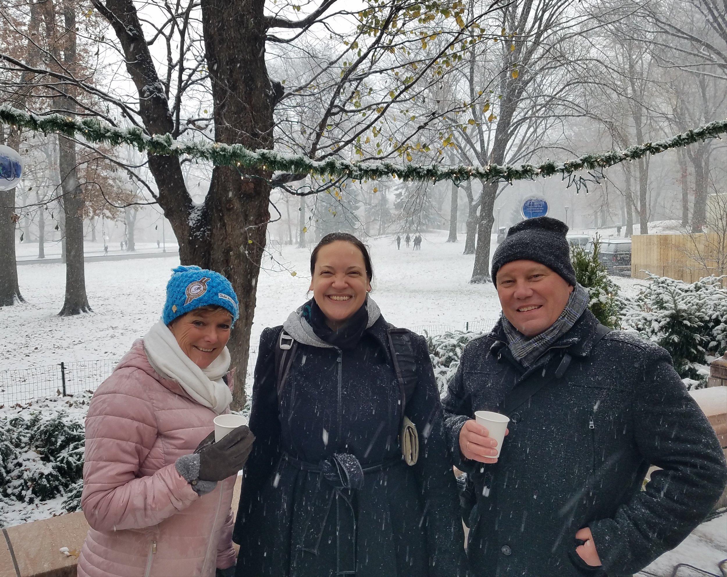An extra special group for a New York tour guide--some Dutch guests enjoying the snow and hot beverages for a very festive feasting indeed!
