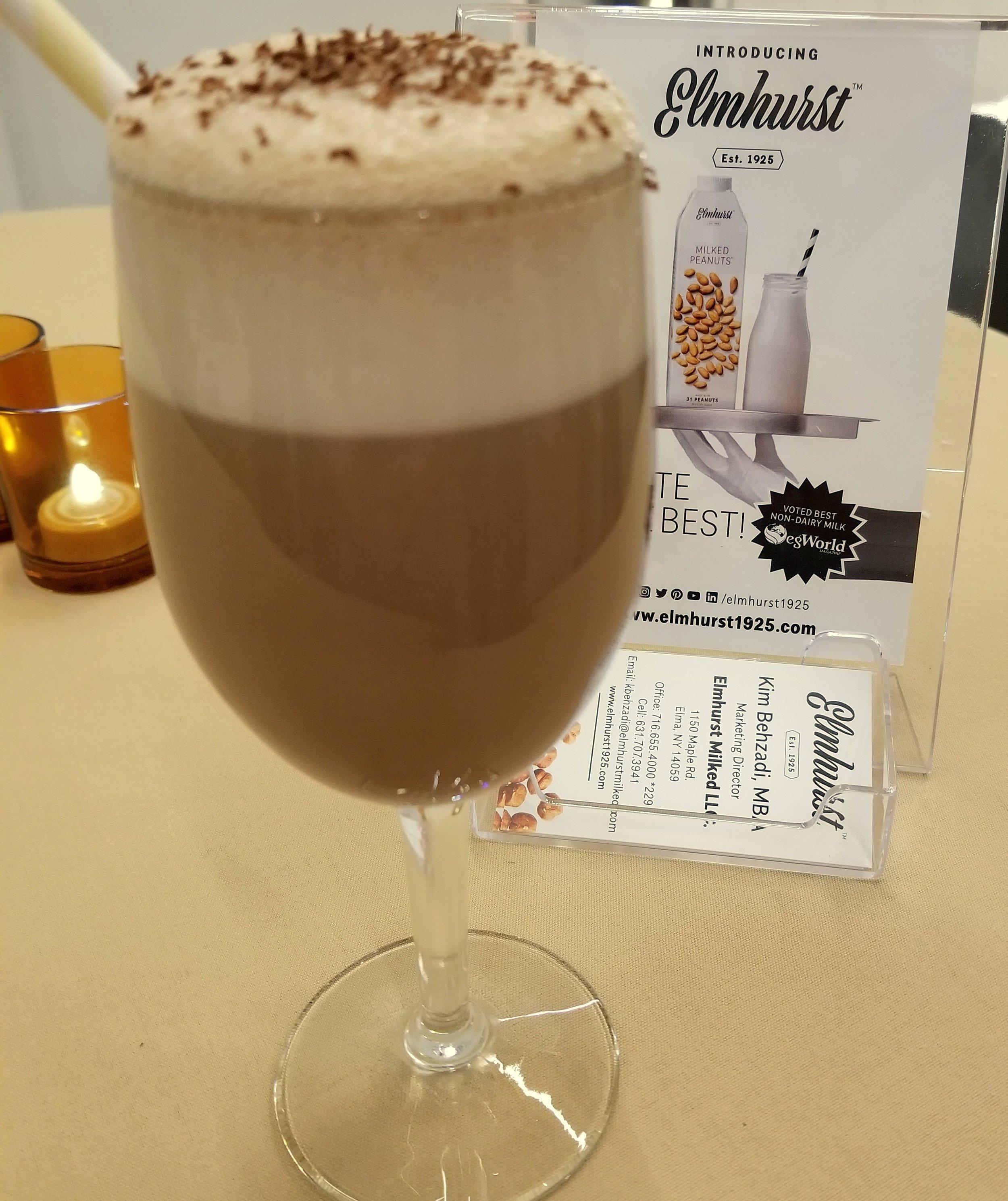 The Frothy Peanut: Milked Peanuts Chocolate, Browns Cream Soda, Lemon Juice, Aged Rum, Egg White, Demerara, Cynar