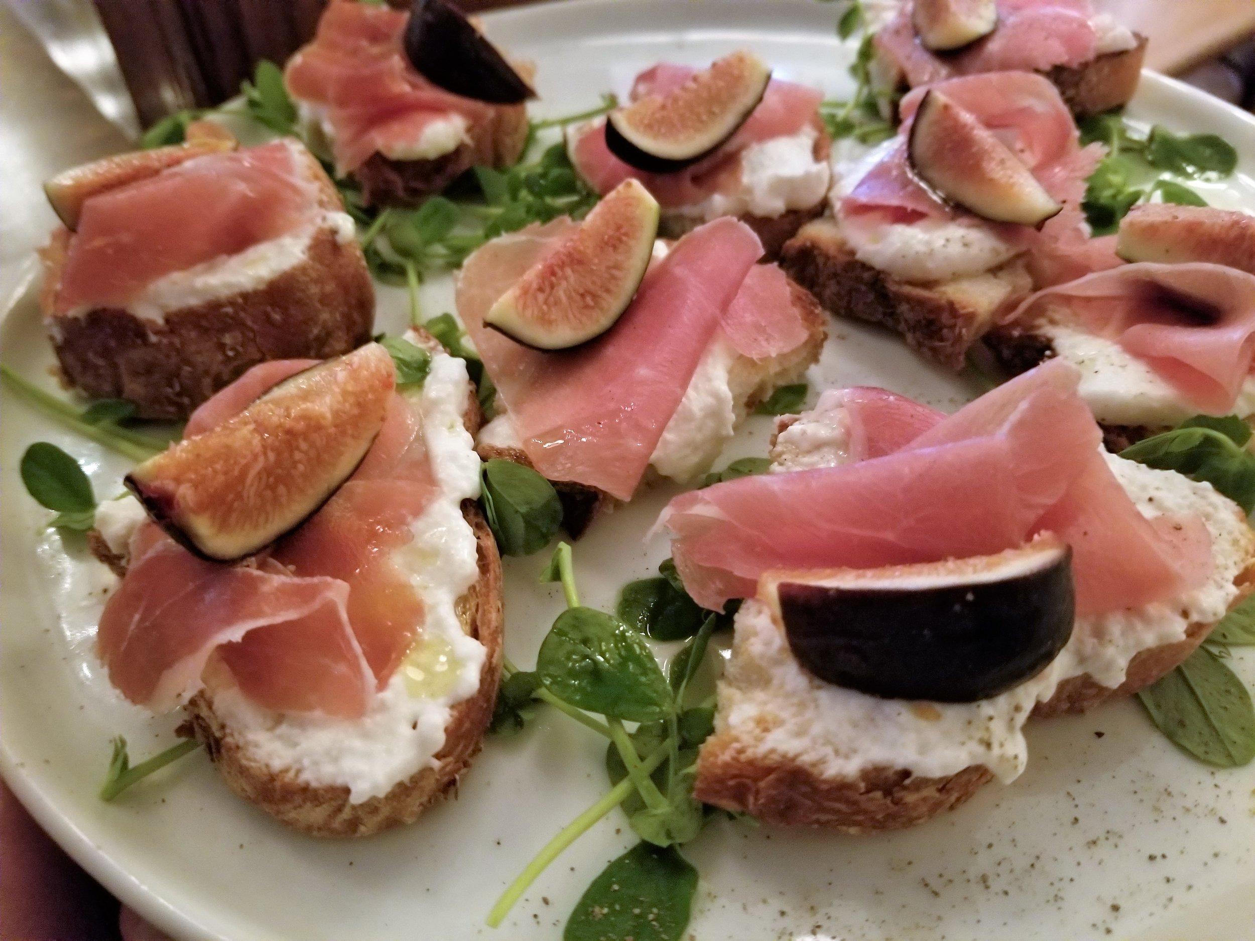 Bruschetta: roasted figs, buratta, Prosciutto di Parma