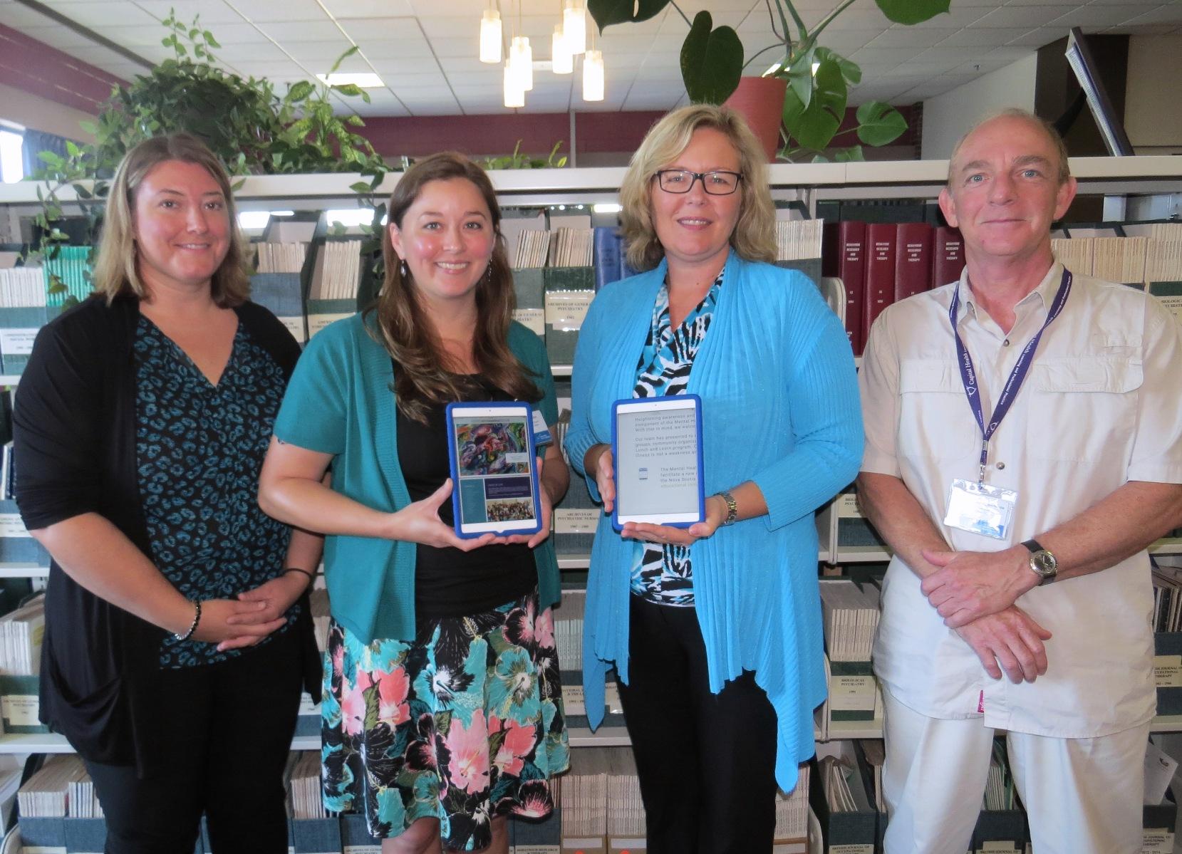 Jackie Zoppa (Library Technician), Lara Killian (Librarian Educator), Starr Dobson (President & CEO, Mental Health Foundation of Nova Scotia), Rob MacKenzie (Library Technician)