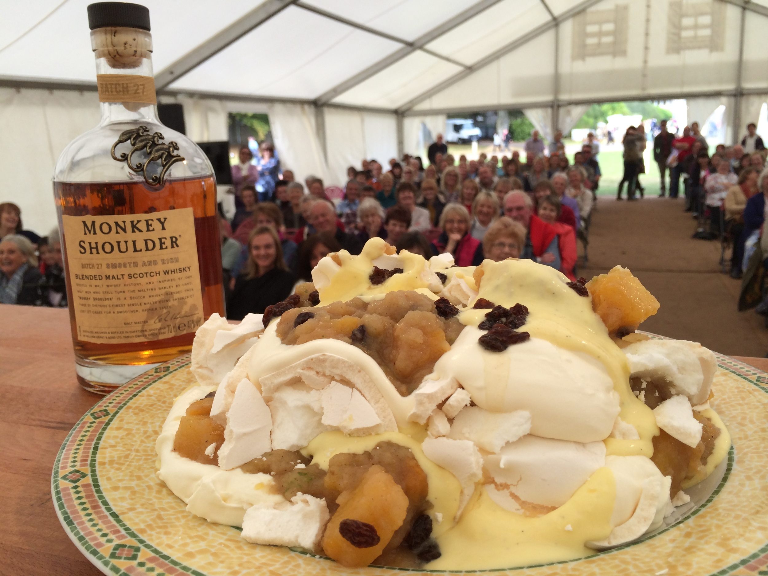 An audience at West Dean gardens enjoyed the Eton Mess (very messy!) with Monkey Shoulder