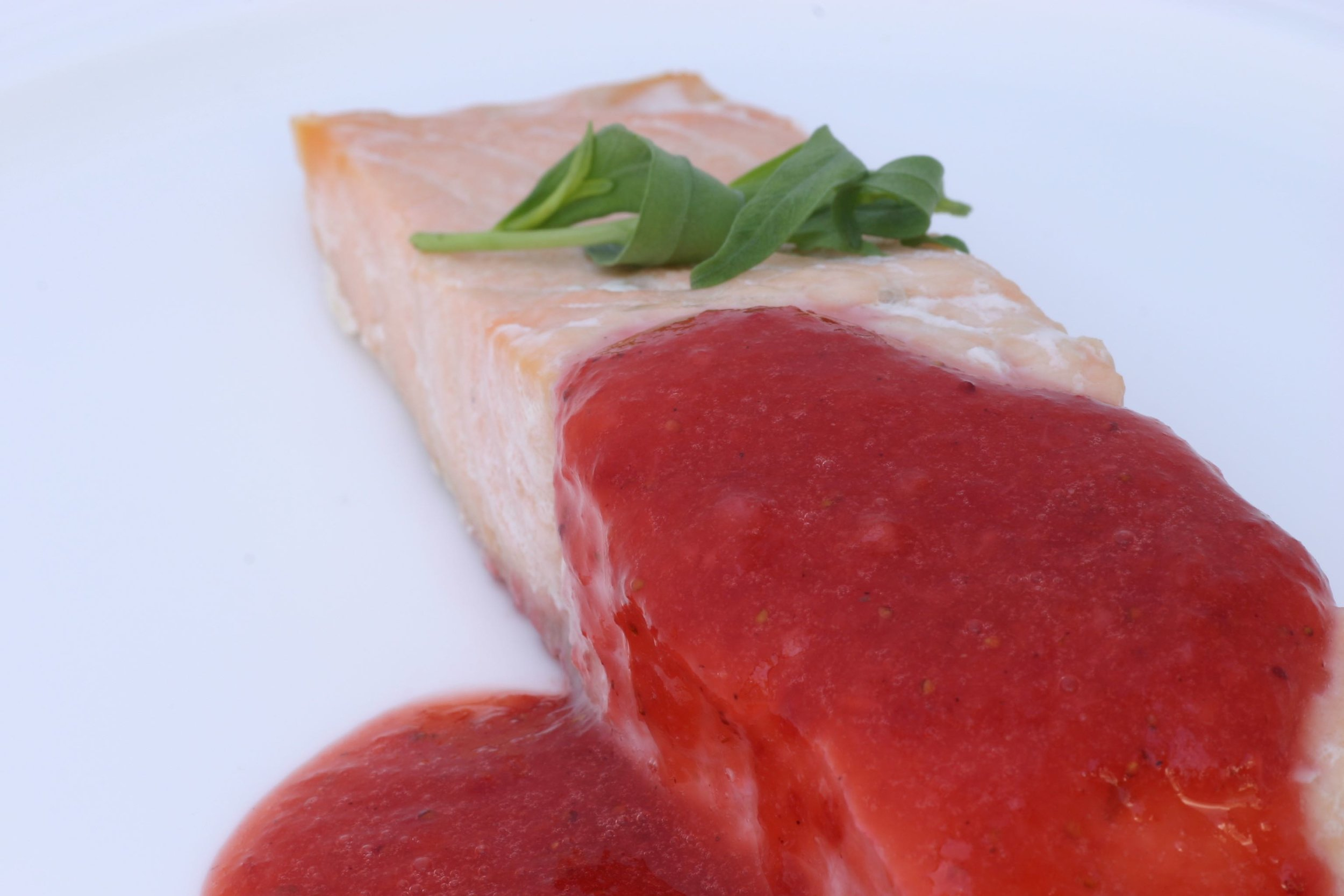 Salmon with strawberry sauce