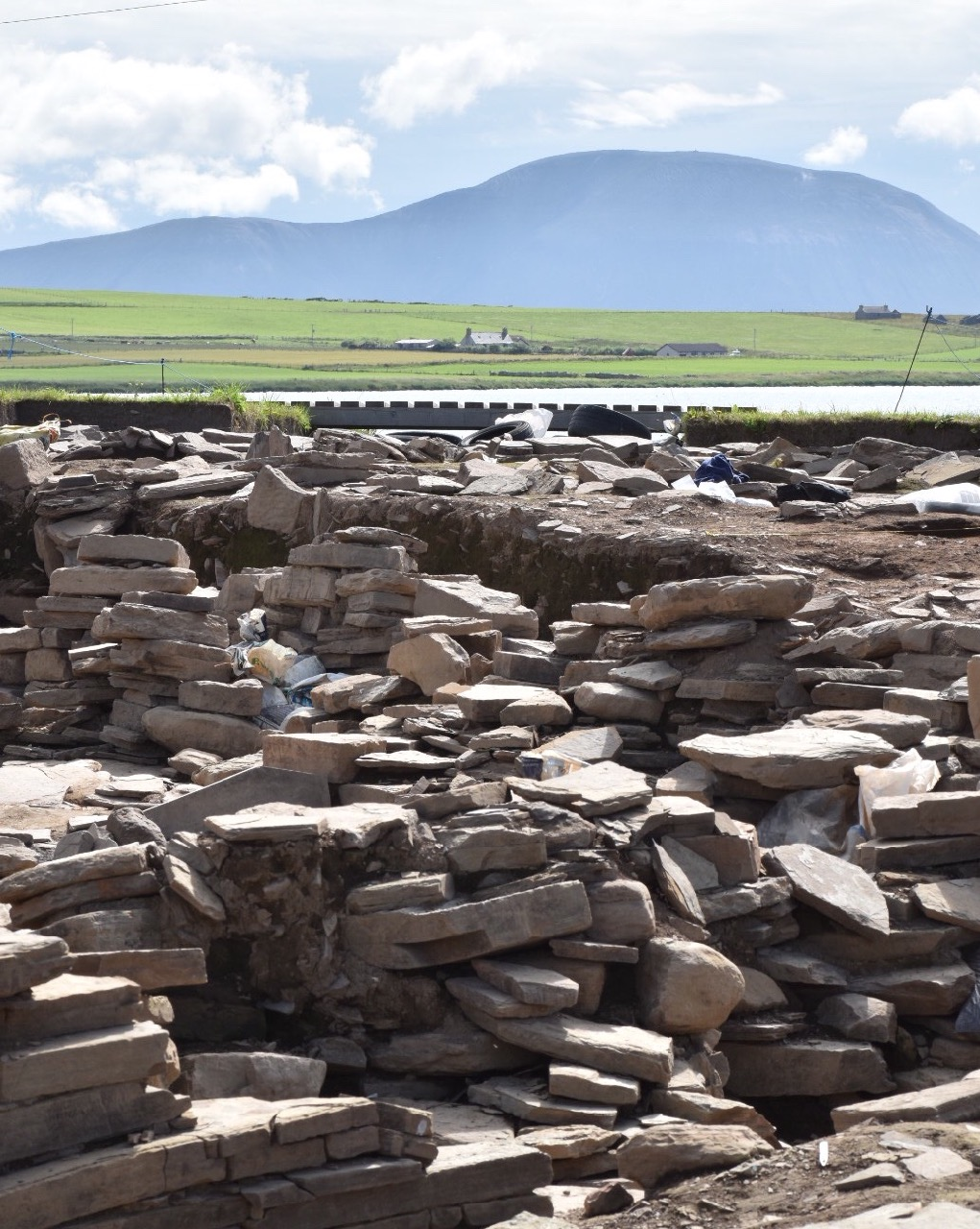 The hills of Hoy seen from the Ness of Brodgar dig