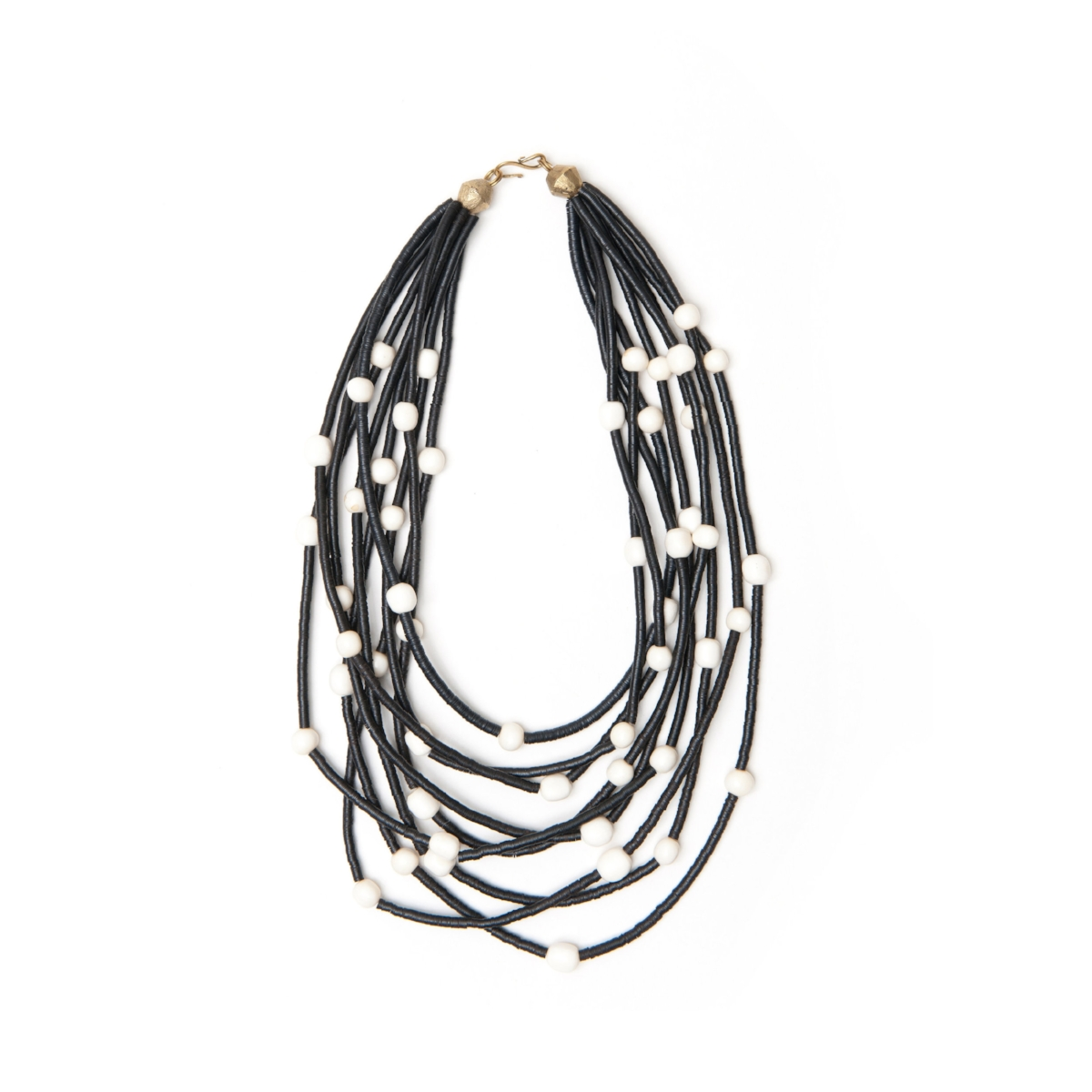 9 Strand Bone Bead And Horn Disc Necklace Maik Nyc