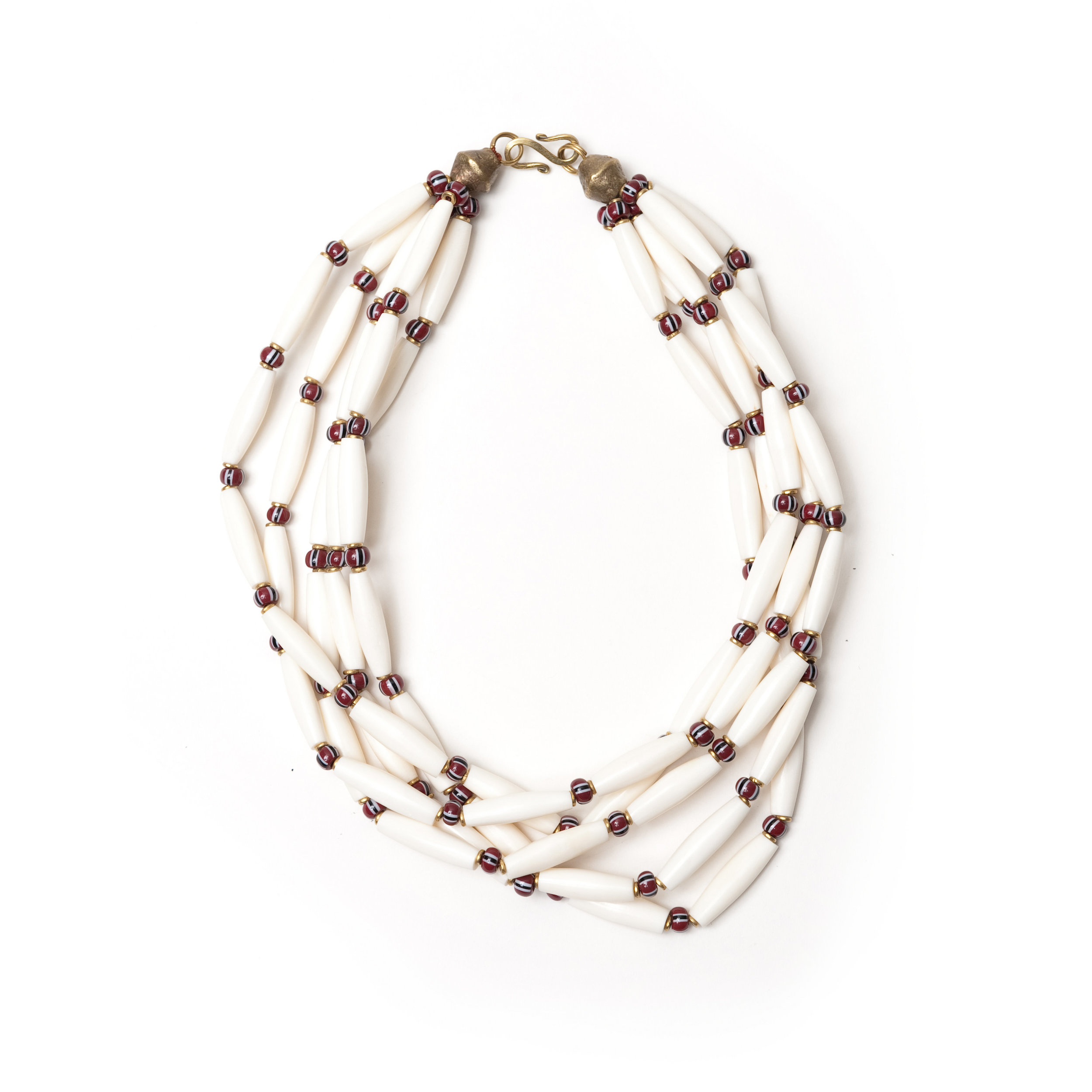 Long Hand Carved Bone Bead Necklace Maik Nyc