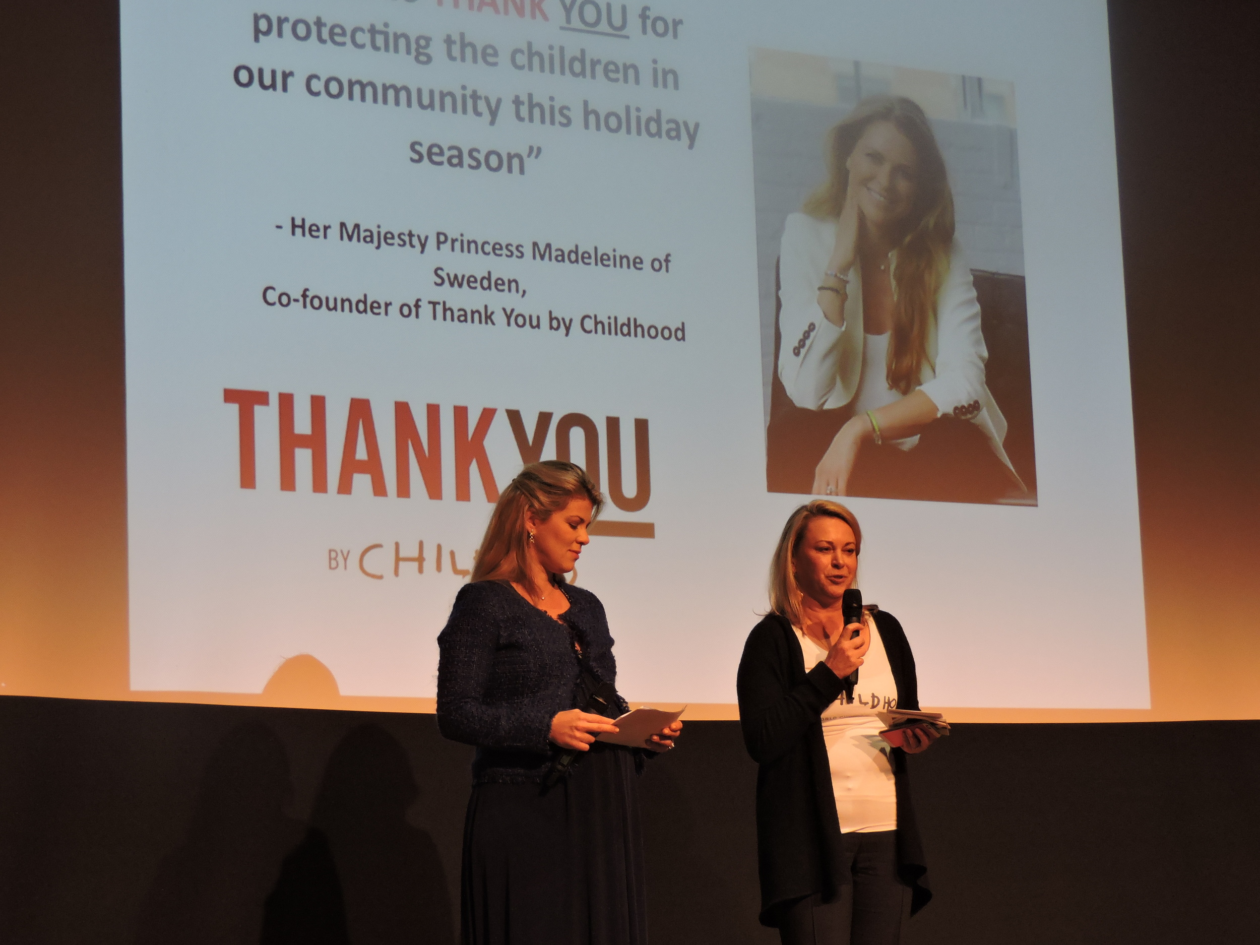 Co-Founder of ThankYou by Childhood Karini Gustafson-Teixeira and Childhood USA President and CEO Joanna Rubinstein explaining how the audience could join the #EyesWideOpen initative.