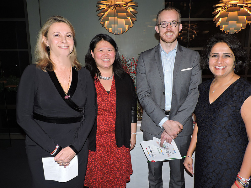 (L to R) Dr. Joanna Rubinstein, President and CEO of Childhood USA,Jiming Liang, Childhood USA Board Member, Sean Egan,and Nirmitee Shah at Childhood USA's  2015 Childhood Holiday Cocktail Reception .