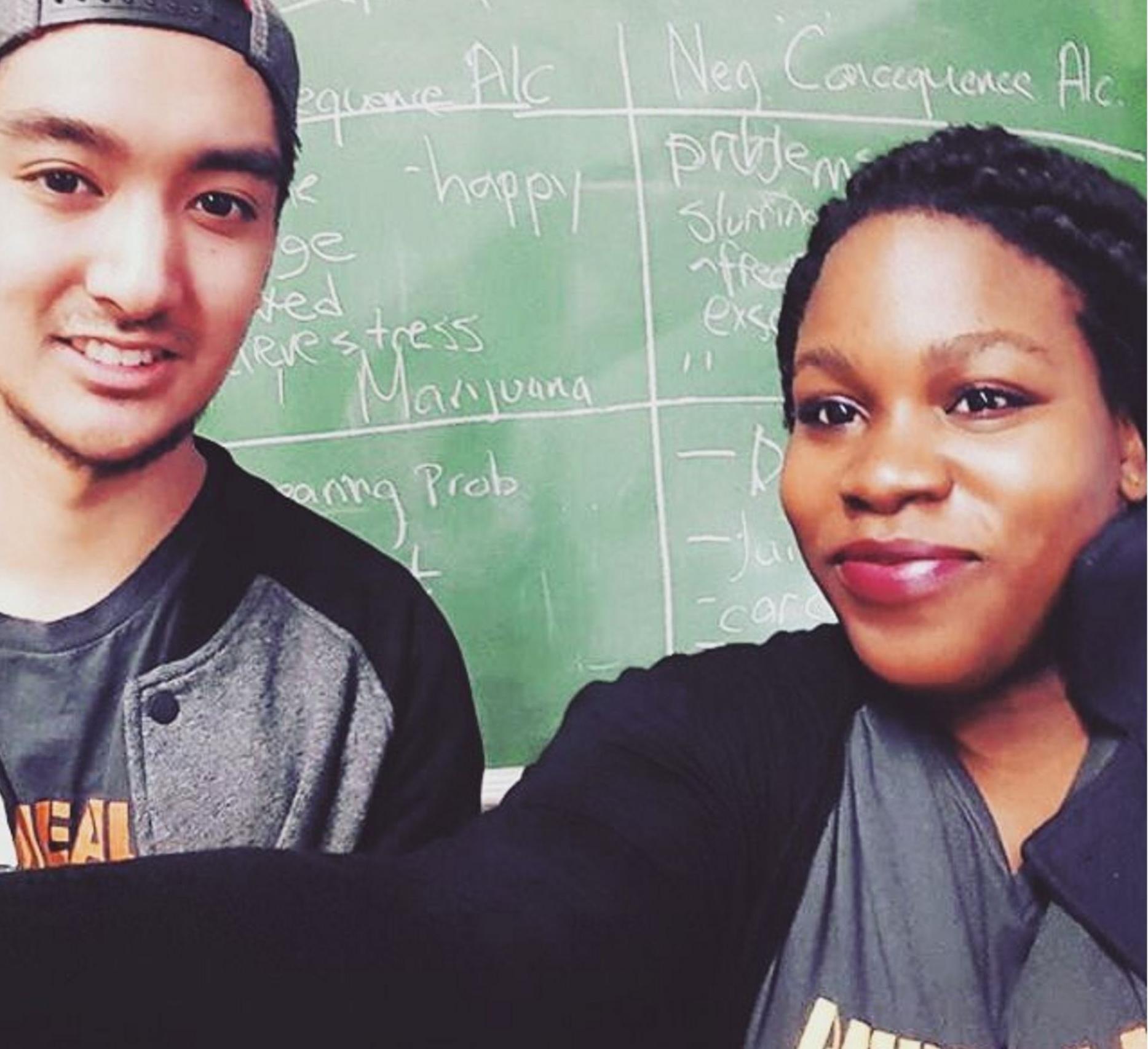 Peer Health Exchange Peer Educators take a selfie after teaching a class to High School freshman.