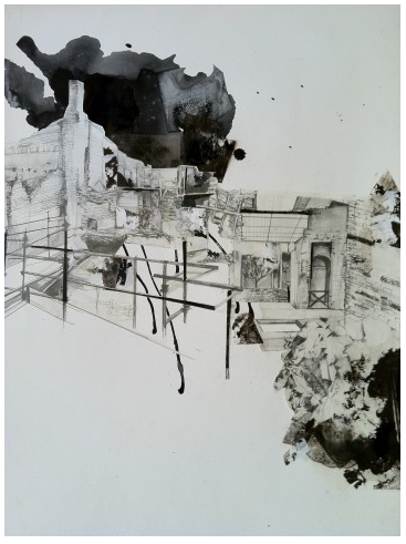 "Pompeii,  2012. Graphite and ink on paper. 48"" x 36"""