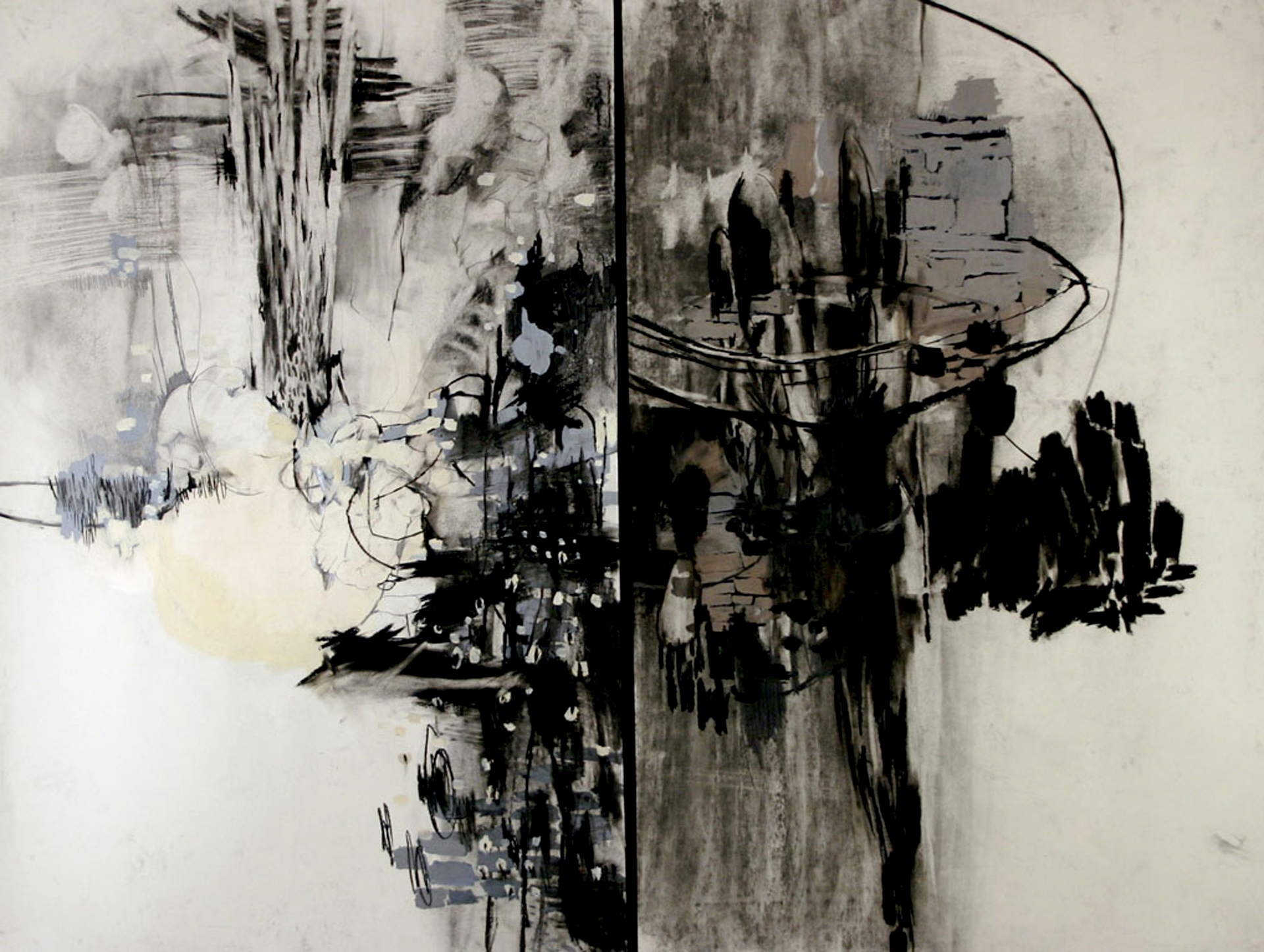 "Untitled,   2008. Mixed media on paper. 40"" x 48"" diptych"