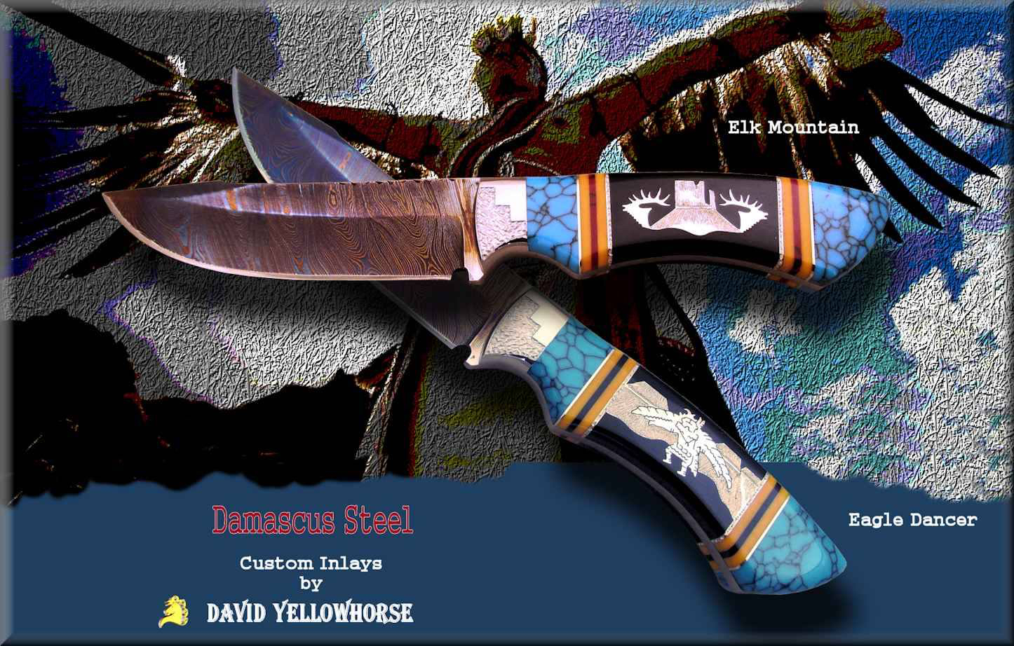 Damascus Patina Blades - David Yellowhorse Custom