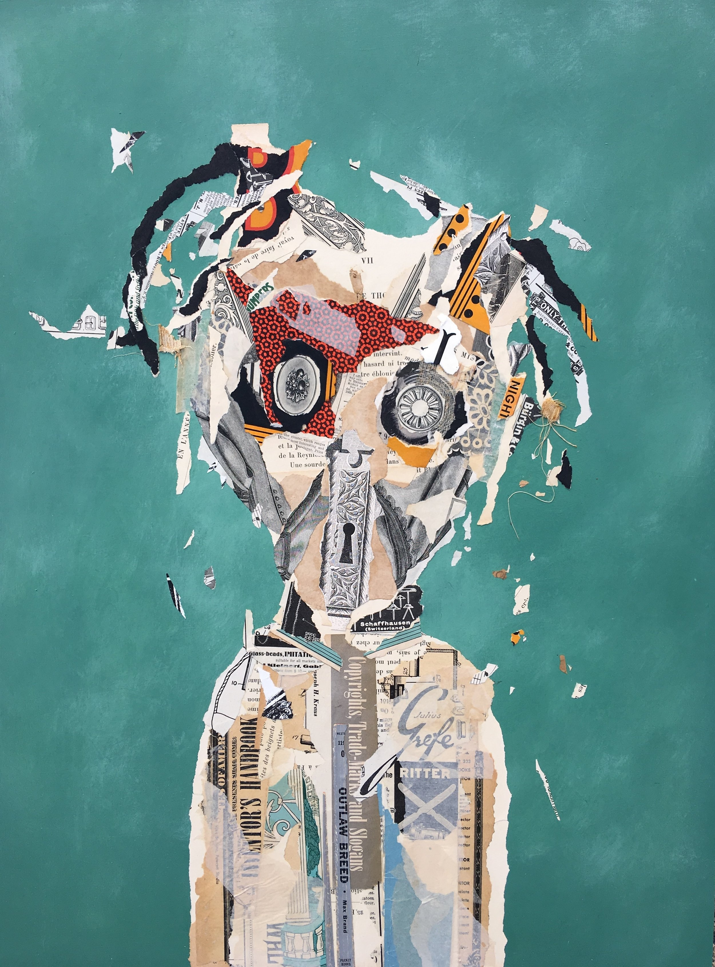 Julius - Mixed Media collage on panel 18x24inches