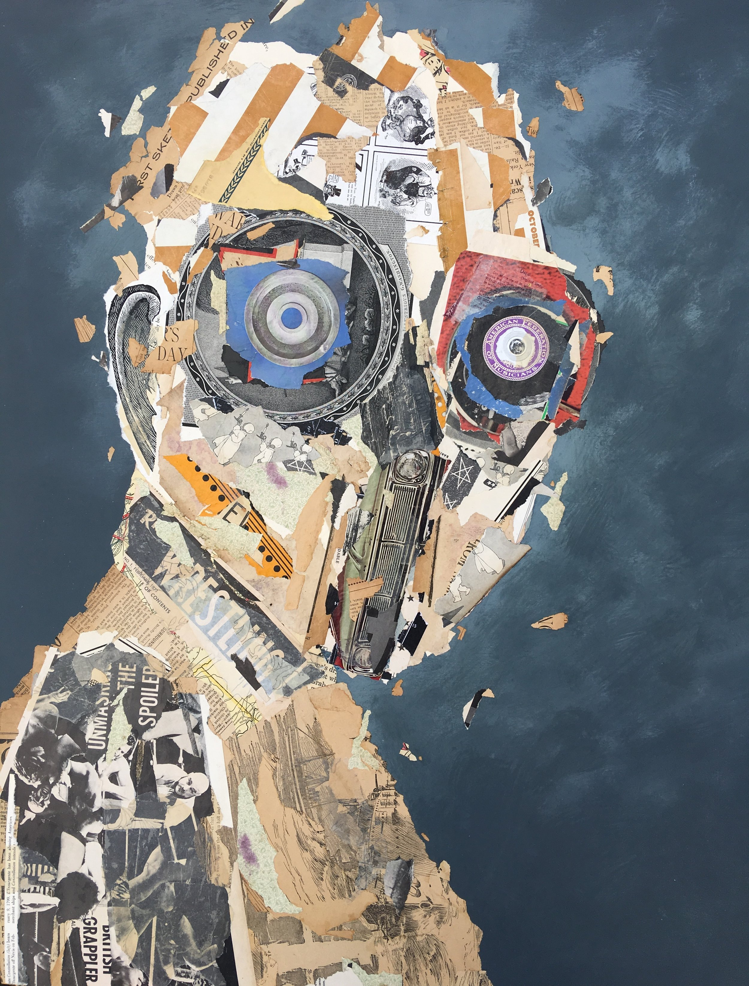 The Spoiler - 24 x 30 inches Mixed Media collage on cradled panel