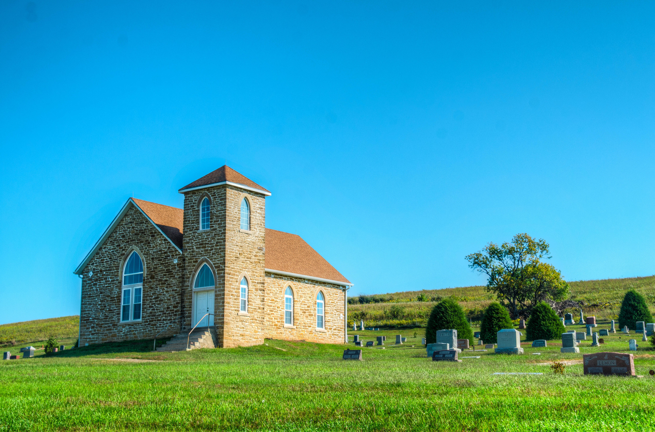 The Old Stone Church. Near Maple Hill, KS. Three shot HDR, edited with Photomatix Pro and LR5