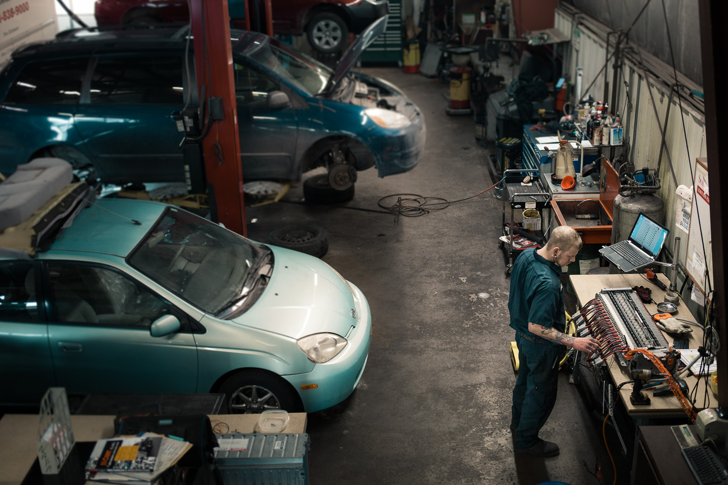 Editorial photograph  Clausen Automotive Madison WI Repairing Electric Cars