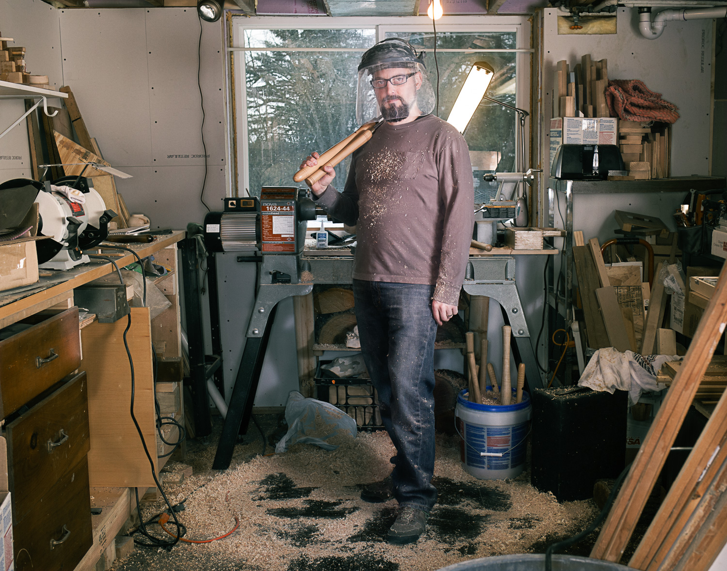 artist in his wood shop