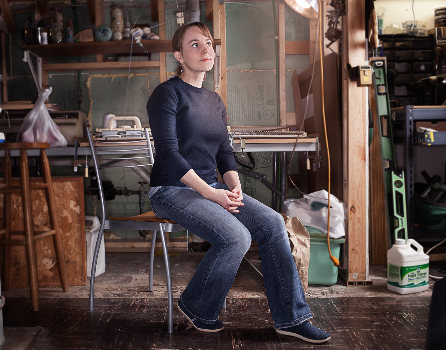 artist in her work space