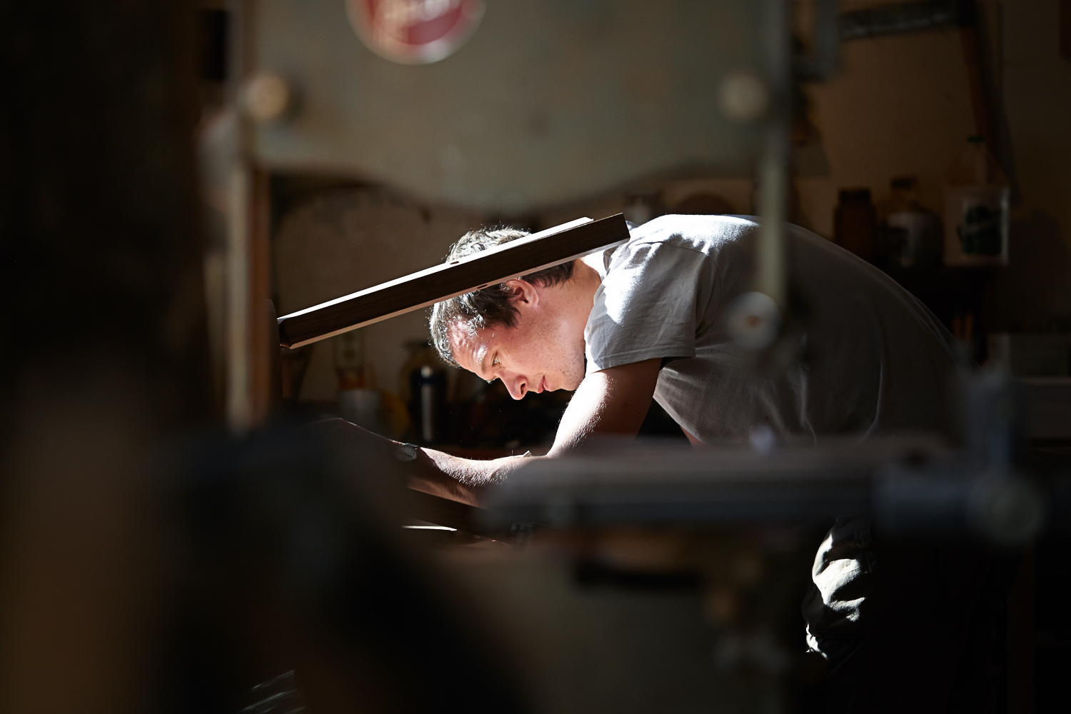 carpenter working in his shop