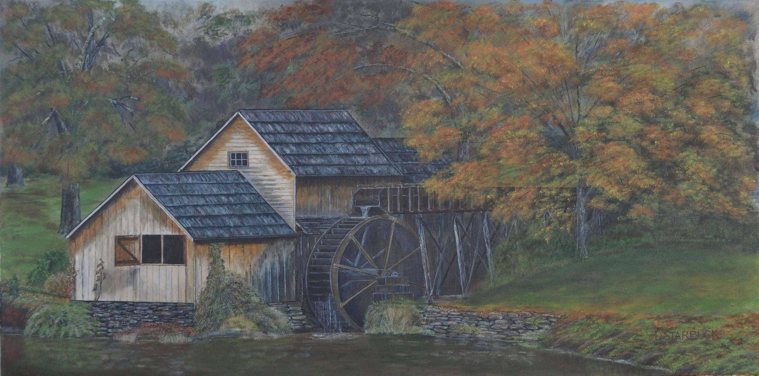 """""""Mabry Mill,' Floyd County, Virginia  Original: Acrylic on Canvas, 36"""" x 18"""""""