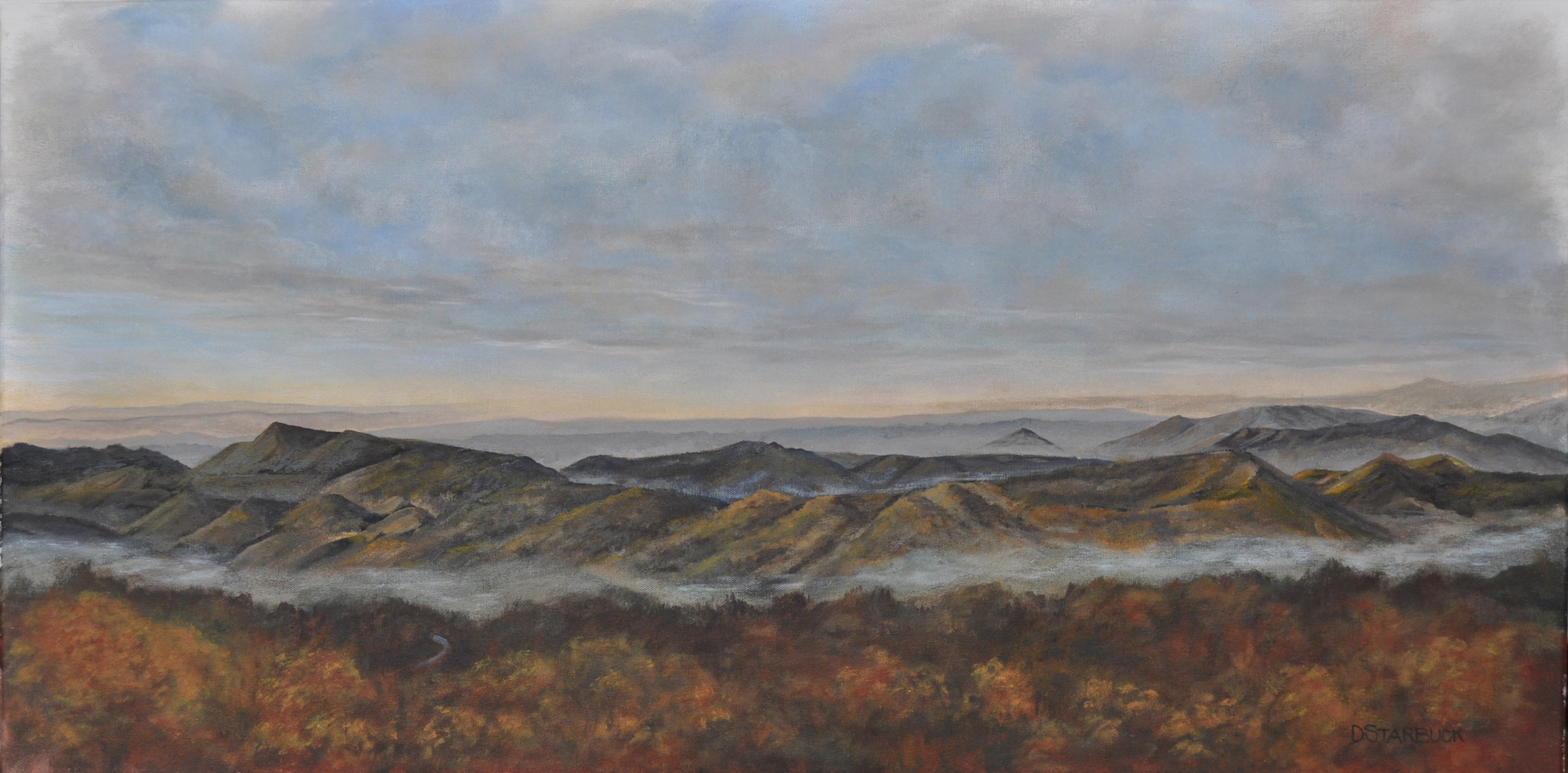 """For Miles & Miles"" A Blowing Rock Vista View, North Carolina  Original: Acrylic on Canvas, 36"" x 18"""