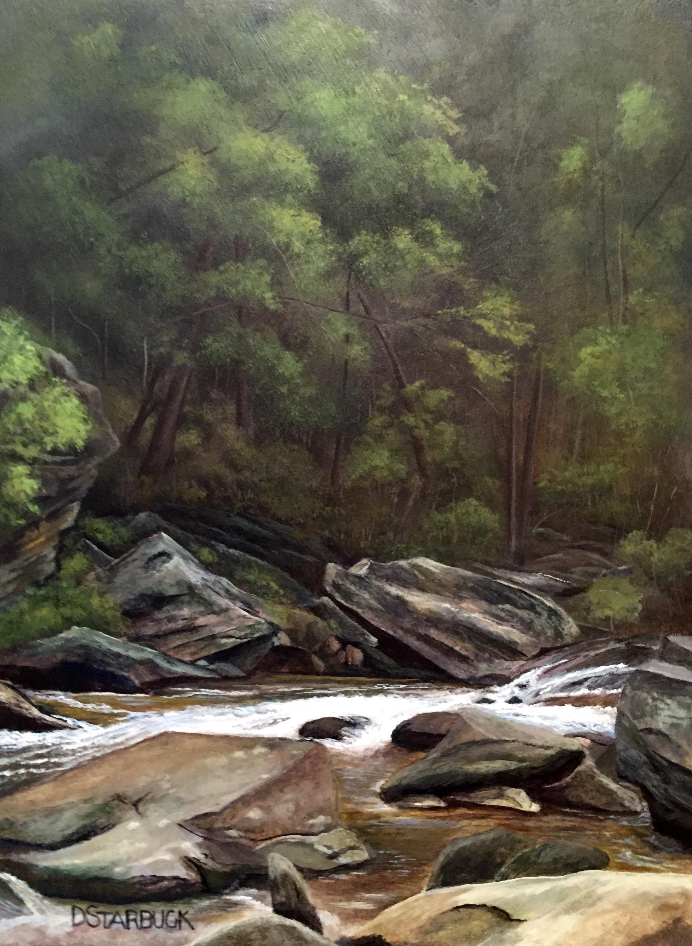 """Looking For Tight Lines"" Graggs Creek, Blue Ridge Parkway, North Carolina  Original: Acrylic on Panel, 10"" x 13.5"""