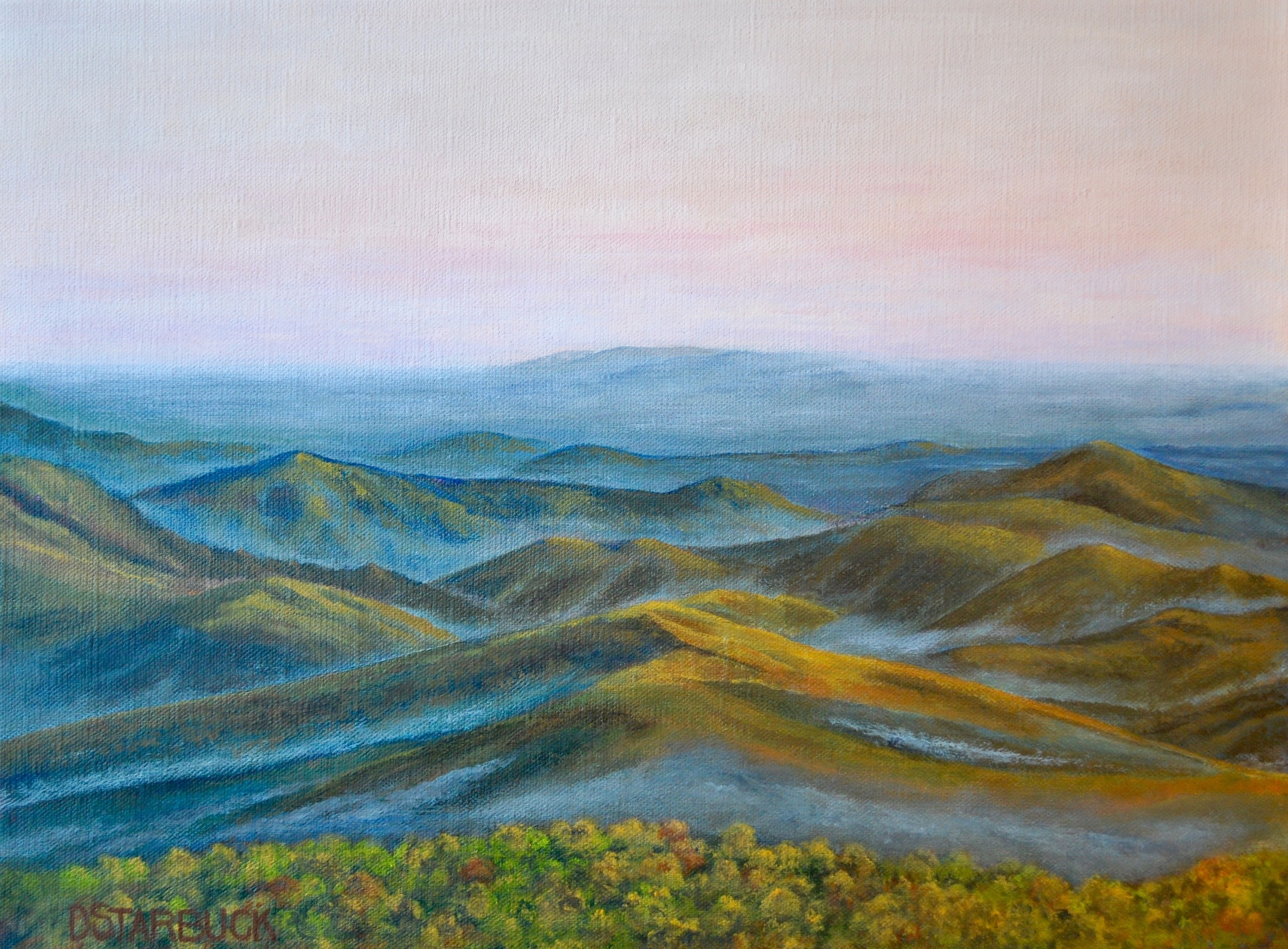 """Yadkin Valley Sundown"" Blue Ridge Parkway, North Carolina (SOLD)  Original: Acrylic on Linen, 16"" x 12"""