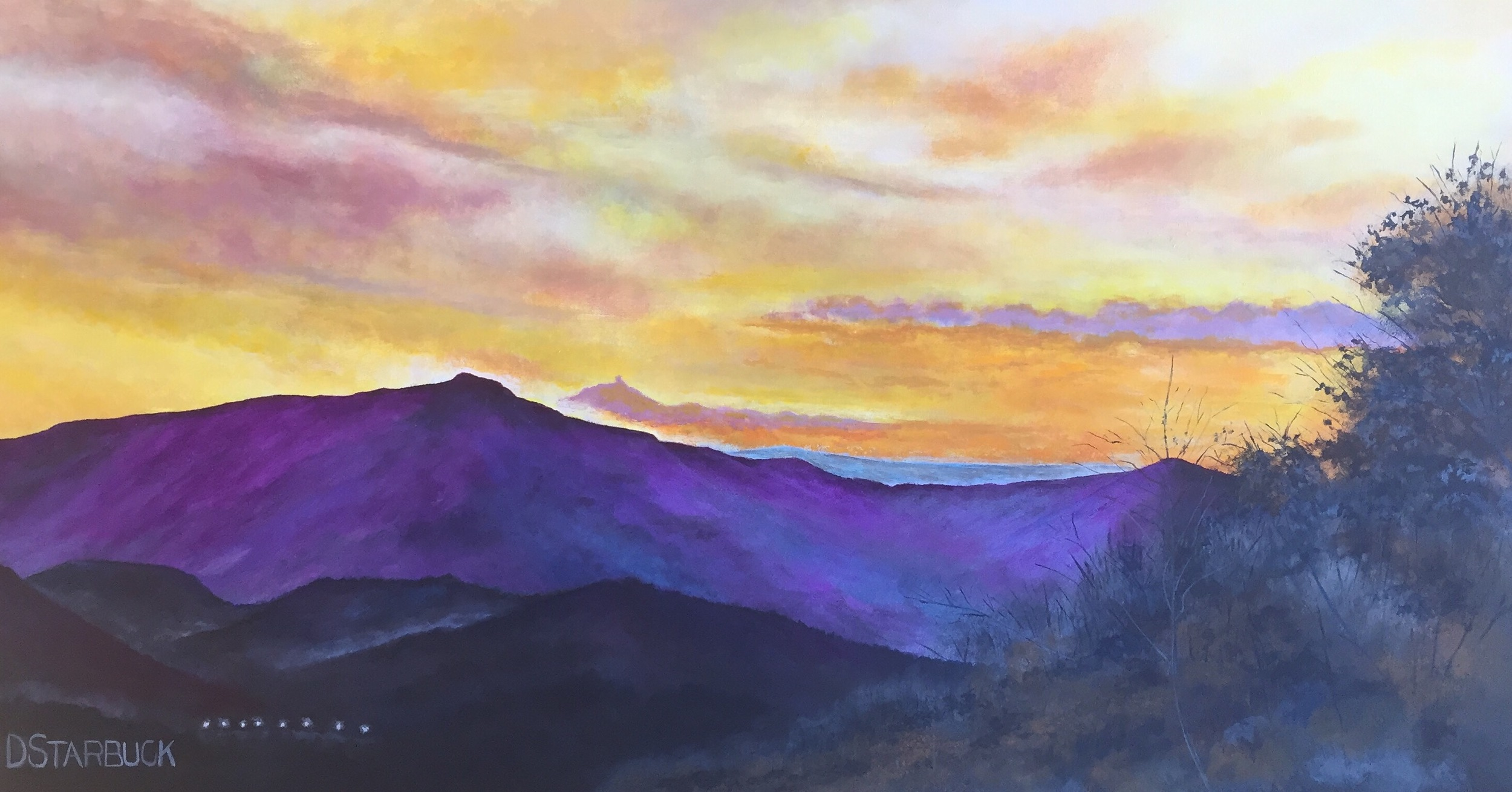 """""""Grandfather From Above The Rock"""" experienced at Howard's Knob County Park, Boone, North Carolina  Original: Acrylic on Panel, 24"""" x 12"""""""