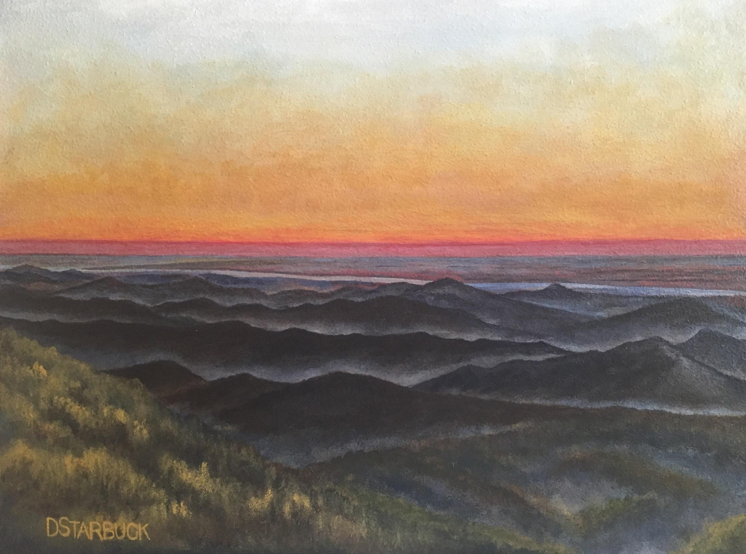 """Blue Ridge Day Break"" at Stack Creek Overlook, Blue Ridge Parkway, North Carolina  Original: Acrylic on Panel, 10"" x 13.5"""
