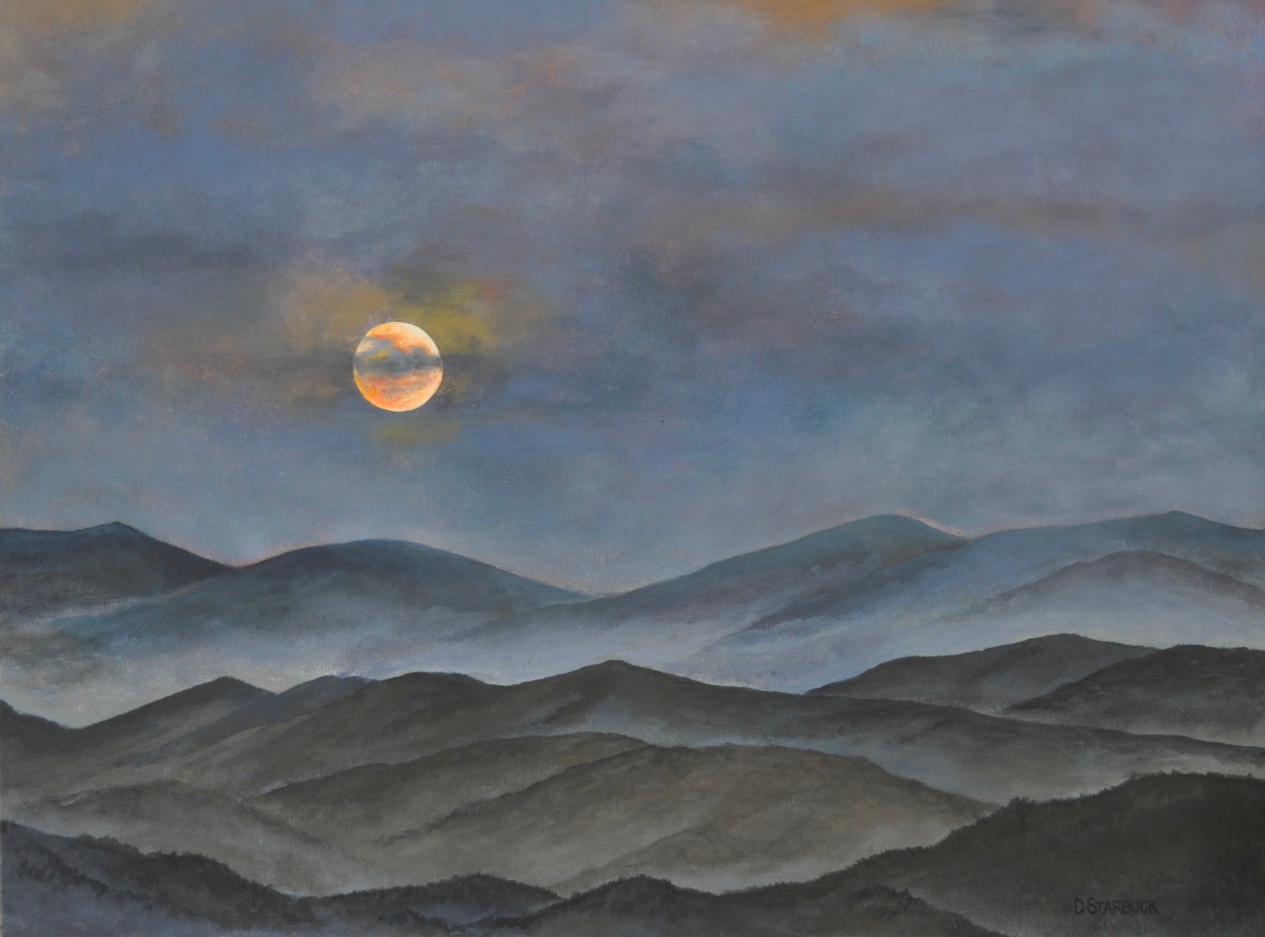 """Morning Moon On The Blue Ridge""  Original: Acrylic on Linen, 24"" x 18"""