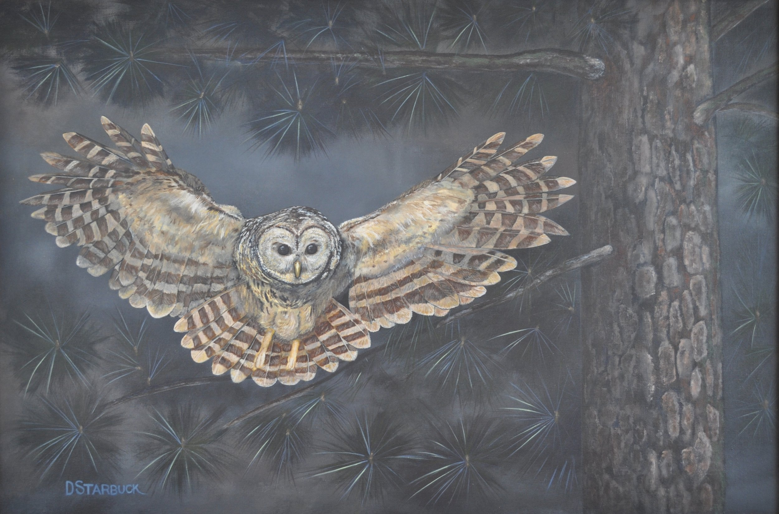 """Whooo Cooks For You,"" Peoples Choice Honors, Harkers Island Fall 2015 NC Wildlife Exhibit  Original: Acrylic on Linen, 36"" x 24"""