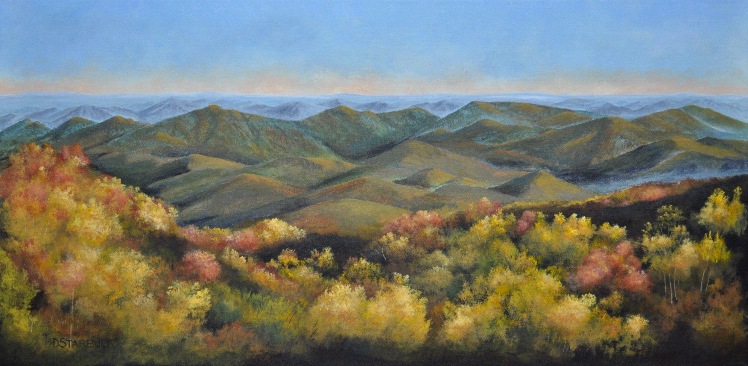 """Stack Creek Mountain Majesty""  Original: Acrylic on Linen, 24"" x 12"""
