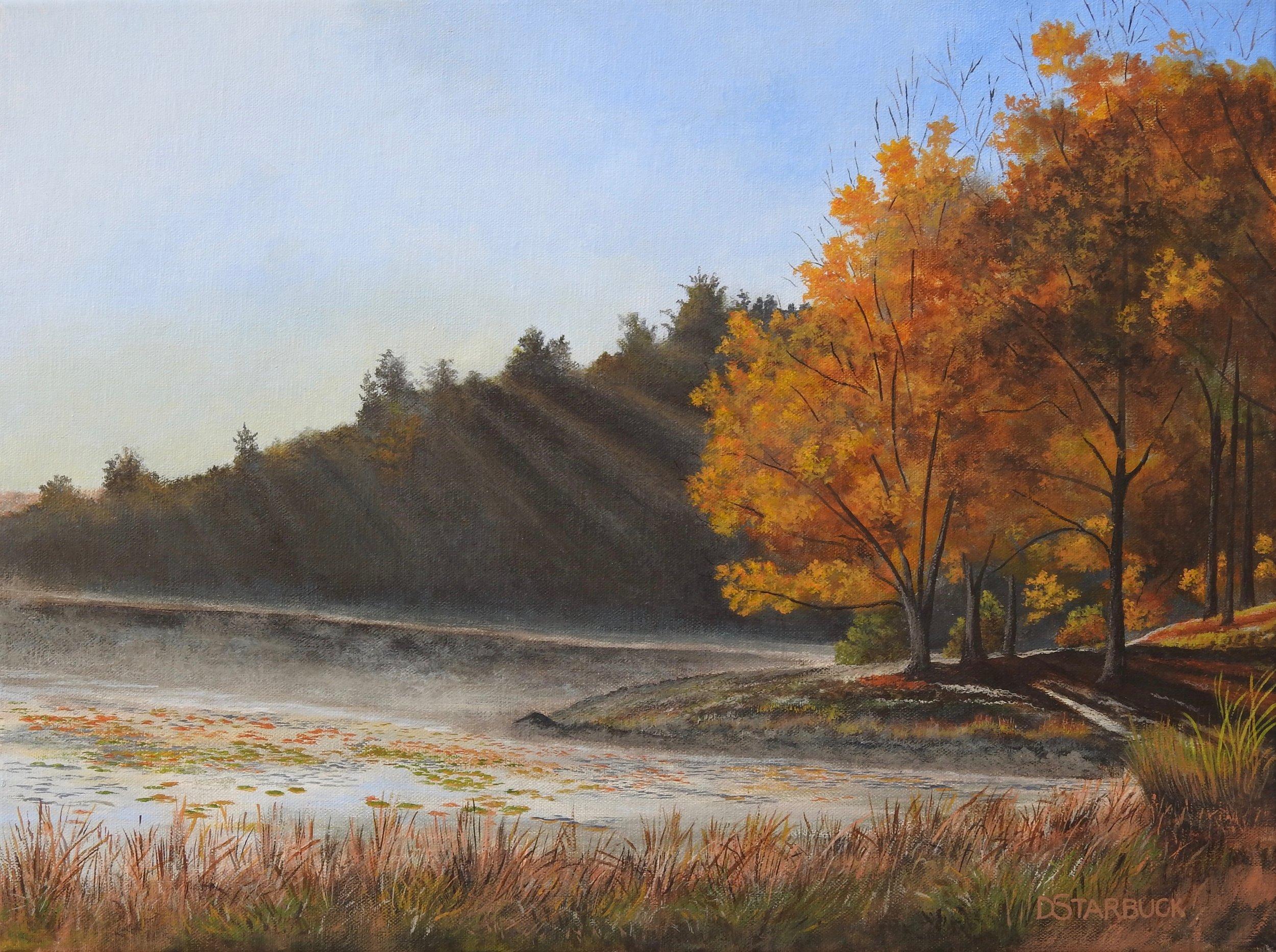 """Sun Rising Stroll @ Bass Lake,"" Blue Ridge Parkway, NC  Original: 16"" x 12"""