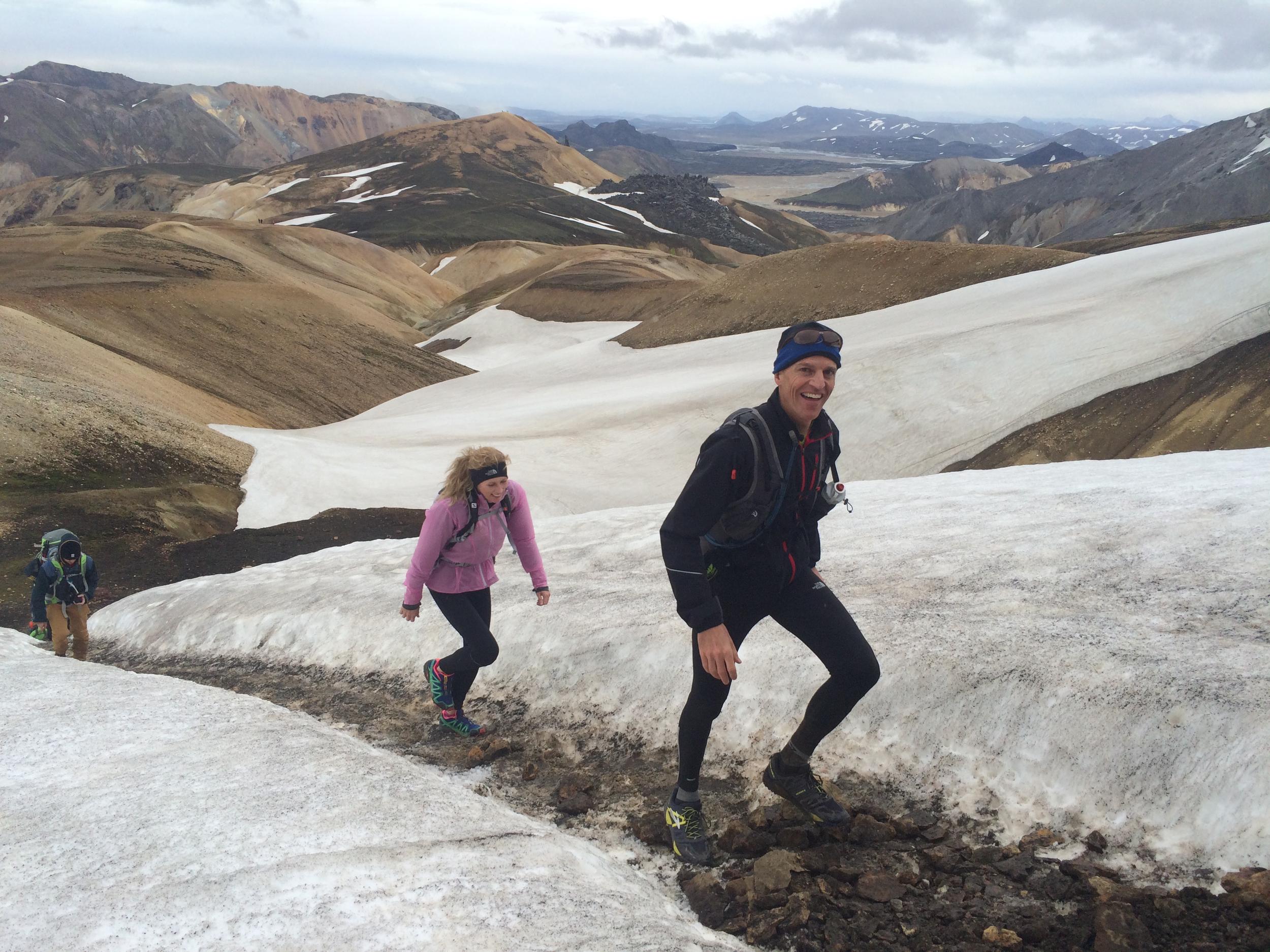 Walking upwards between snow shafts on Laugavegur