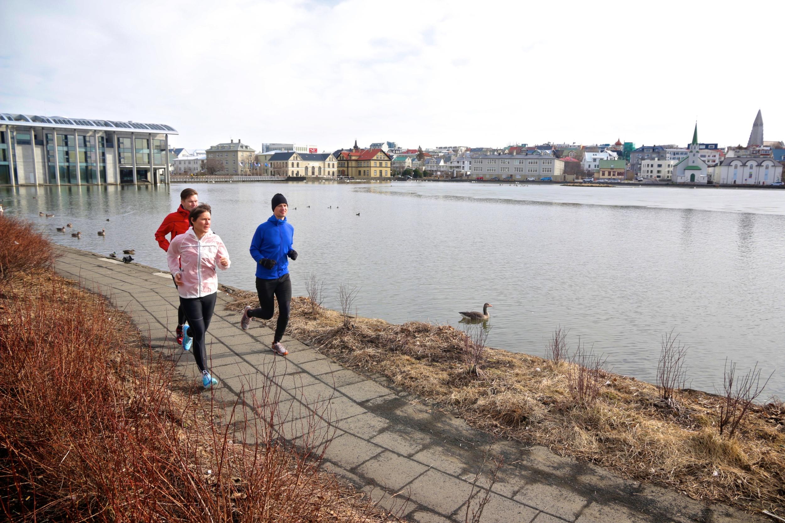 Running along Reykjavik pond