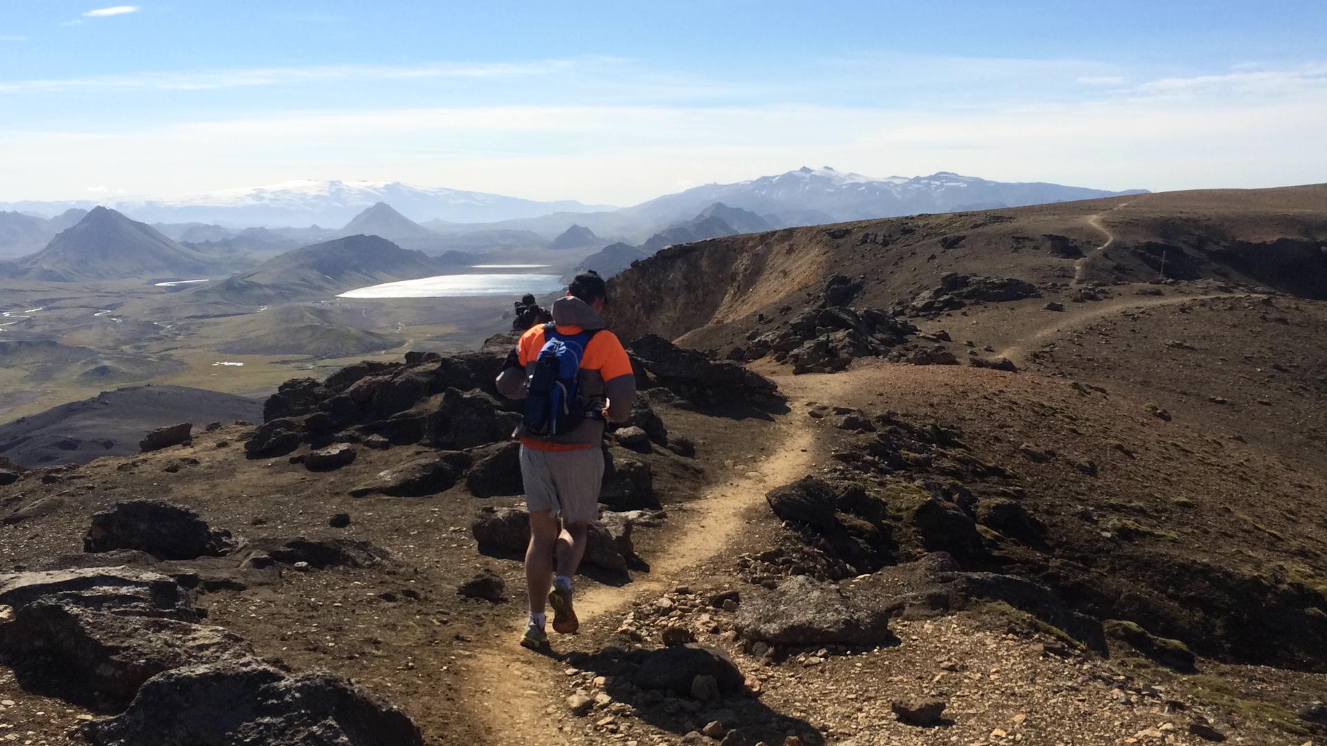 A Running break in Reykjadalur Iceland