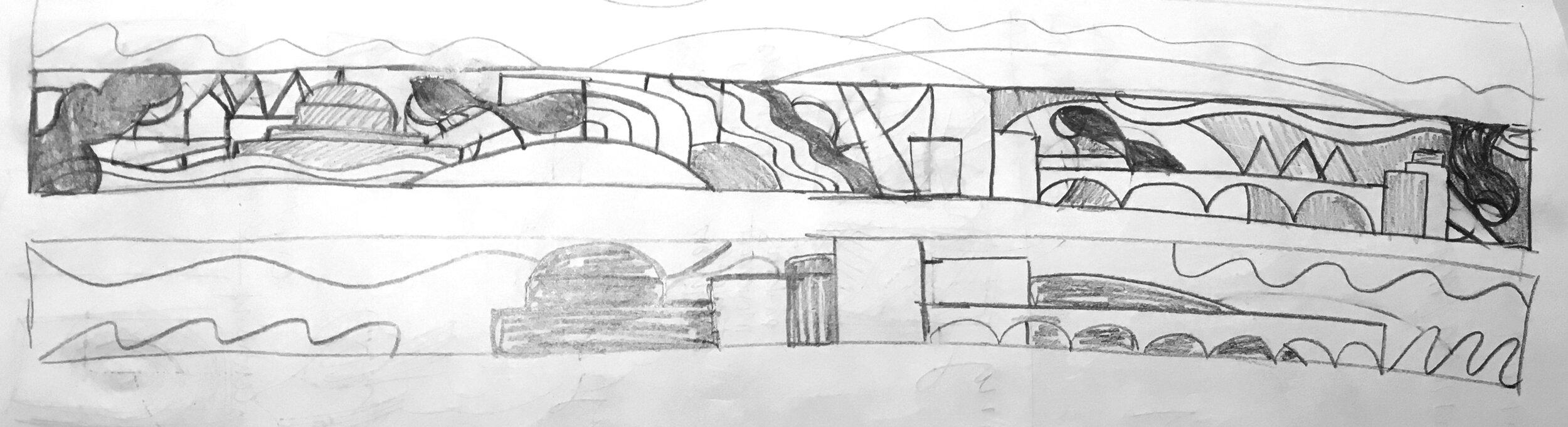 Initial sketch of flag stripe design