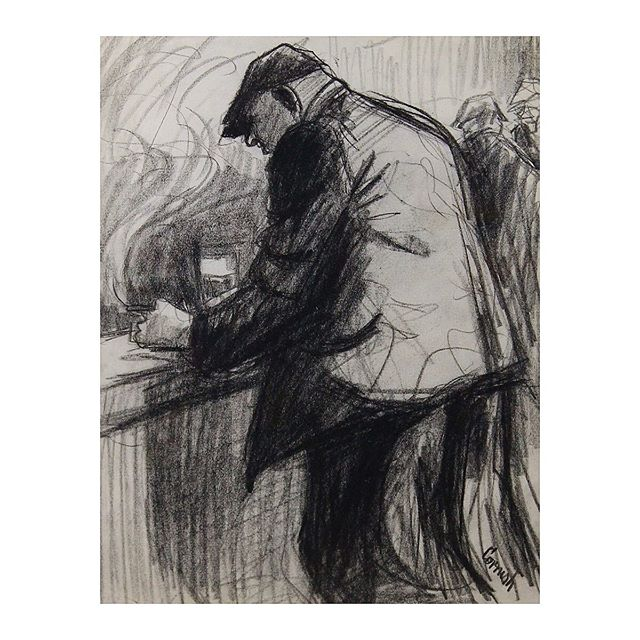 Man at bar smoking, Norman Cornish