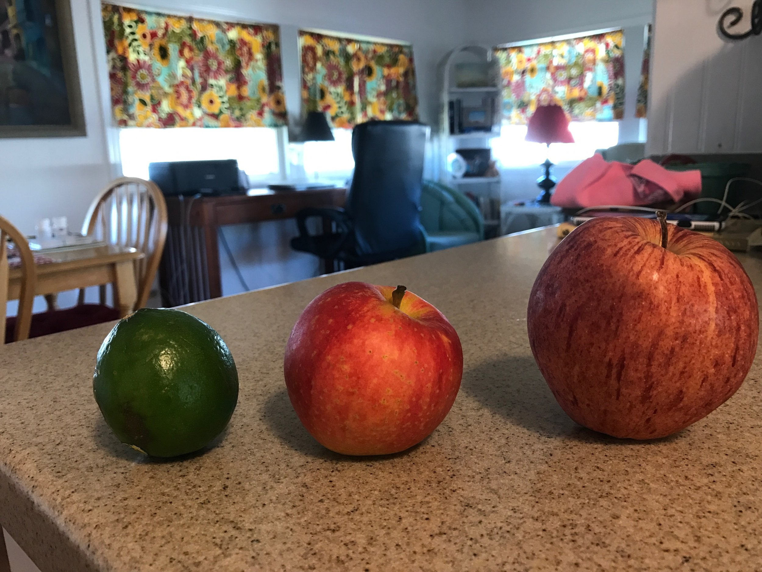 Perspective ~ L to R ~  lime, medium apple, large apple