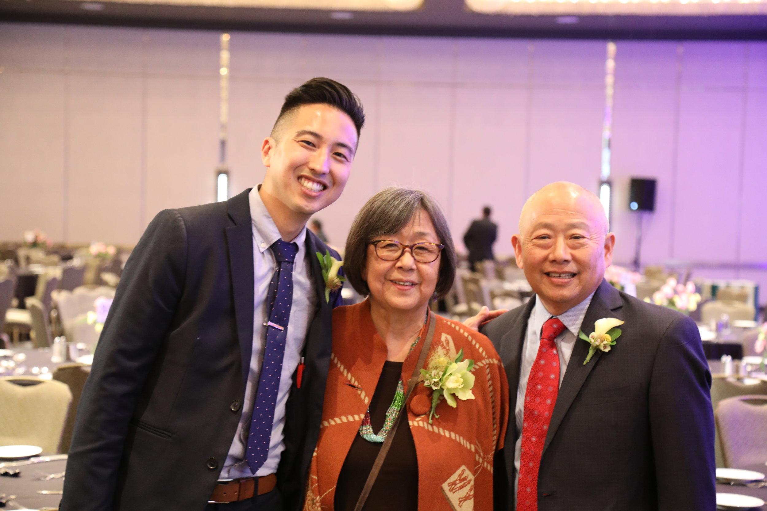 2018 Community Spirit Award recipients Craig Ishii, Kathy Masaoka, and Alan Miyatake.